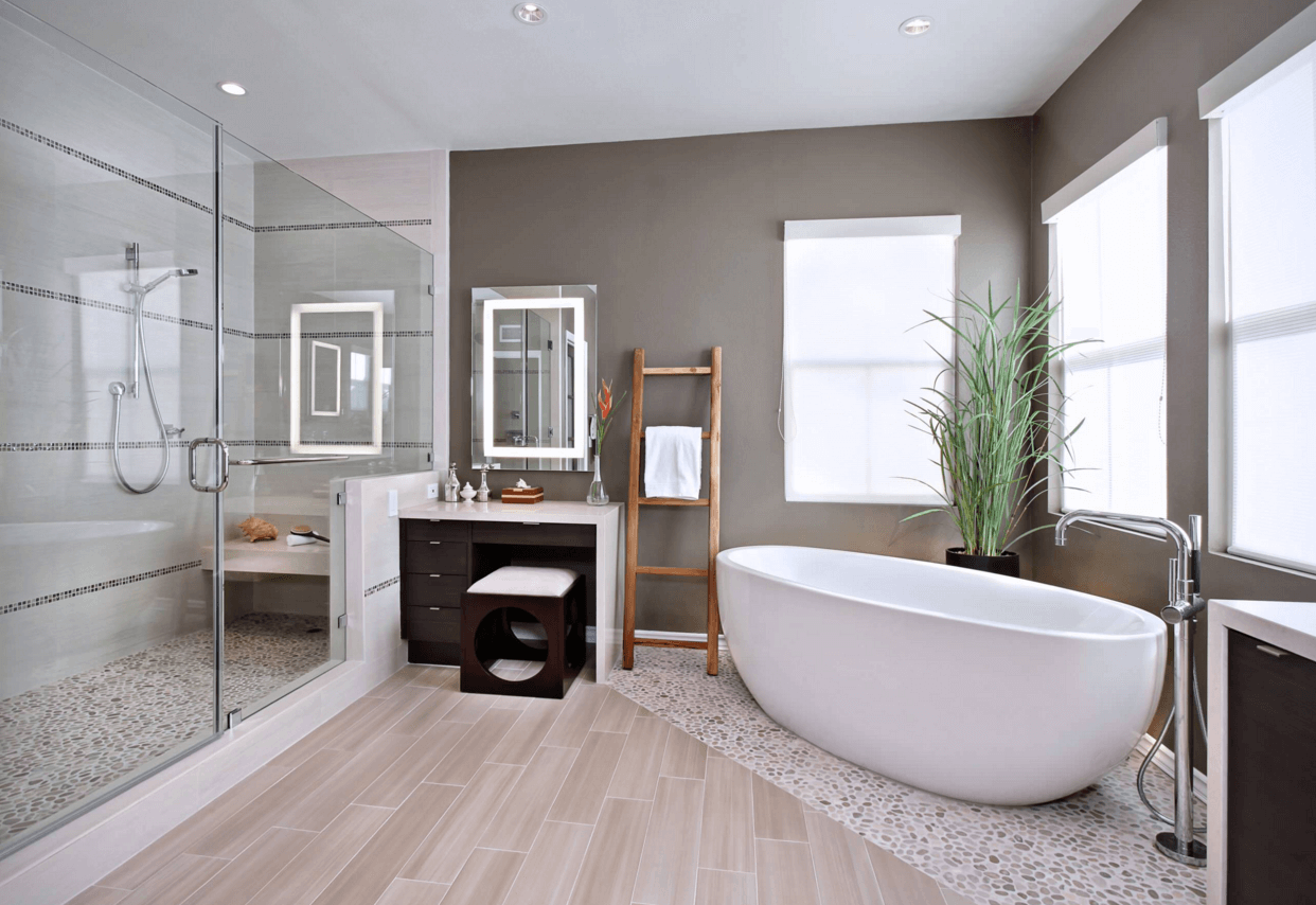 Large open plan bathroom after renovation