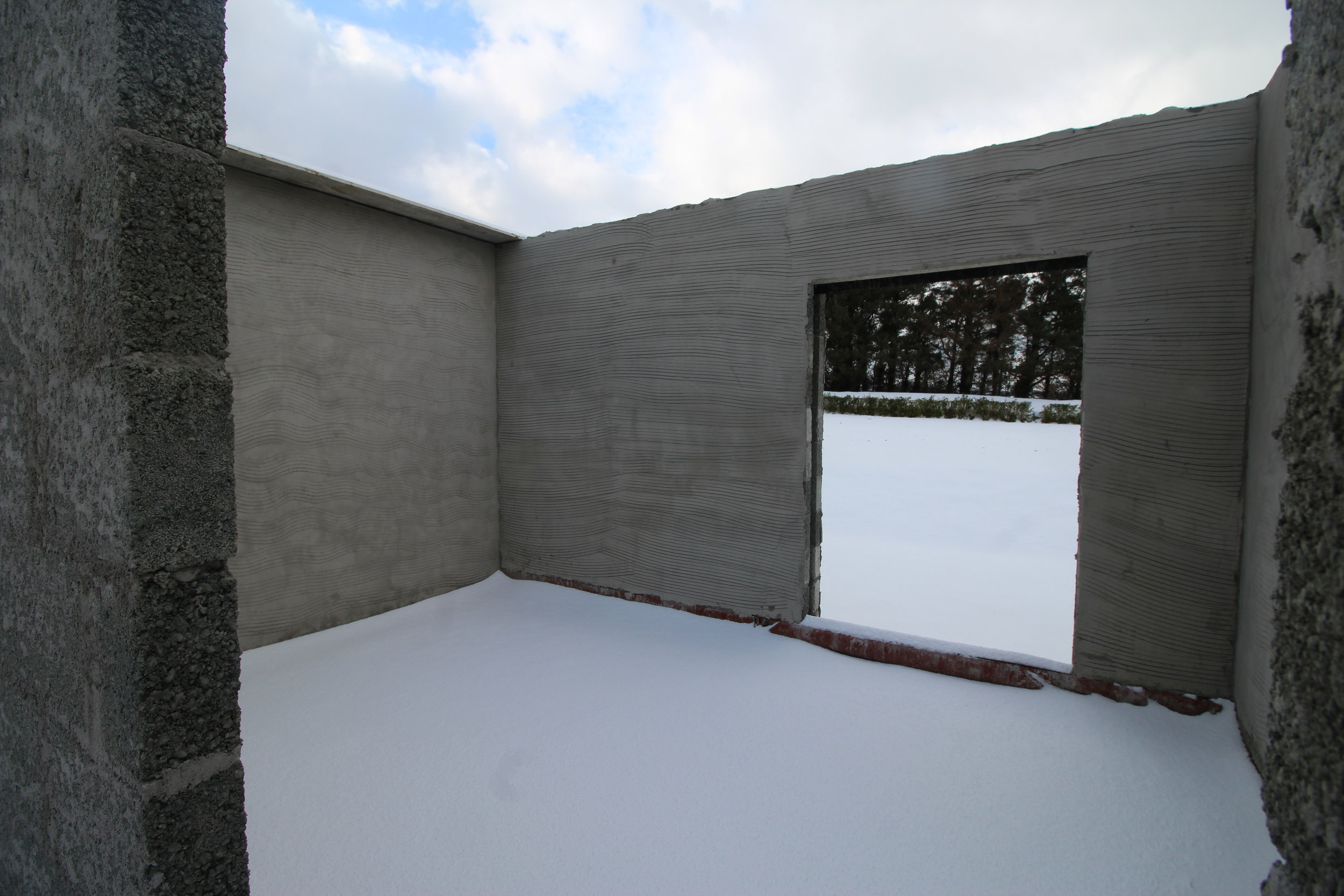 New build flooring covered in snow