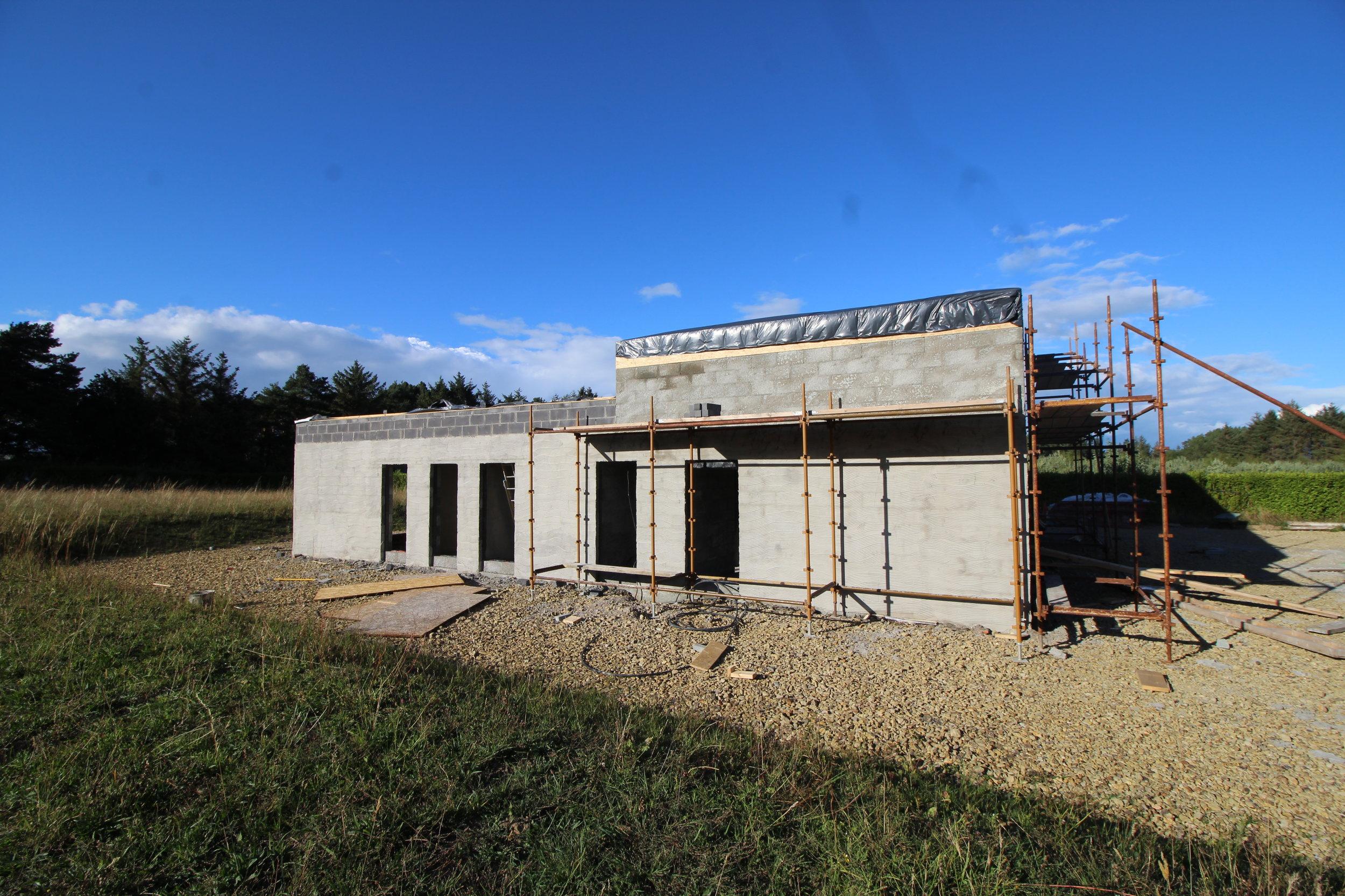 Fibreglass roofing underway