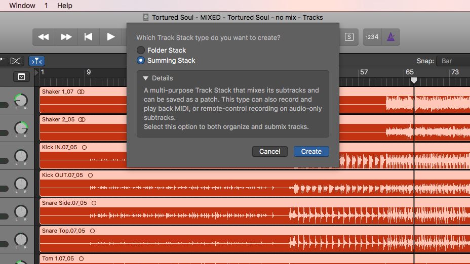 Create Track Stacks: Select multiple tracks, then press Shift Command D. Then choose Folder Stack or Summing Stack.