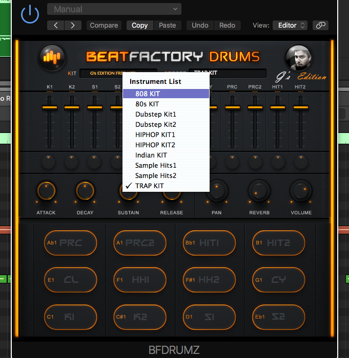 BeatFactory has 10 total kits to choose, with 12 sounds per kit.