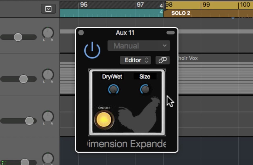 Dimension Expander has a very simply interface with only 3 controls: on/off, dry/wet and size.