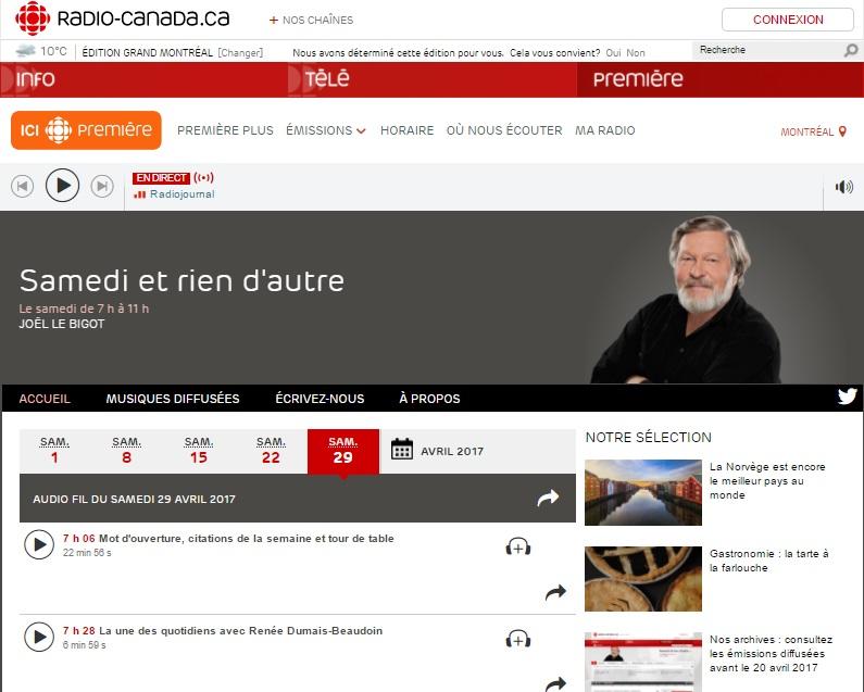 Radio-Canada, Samedi et rien d'autre, March 29th 2017