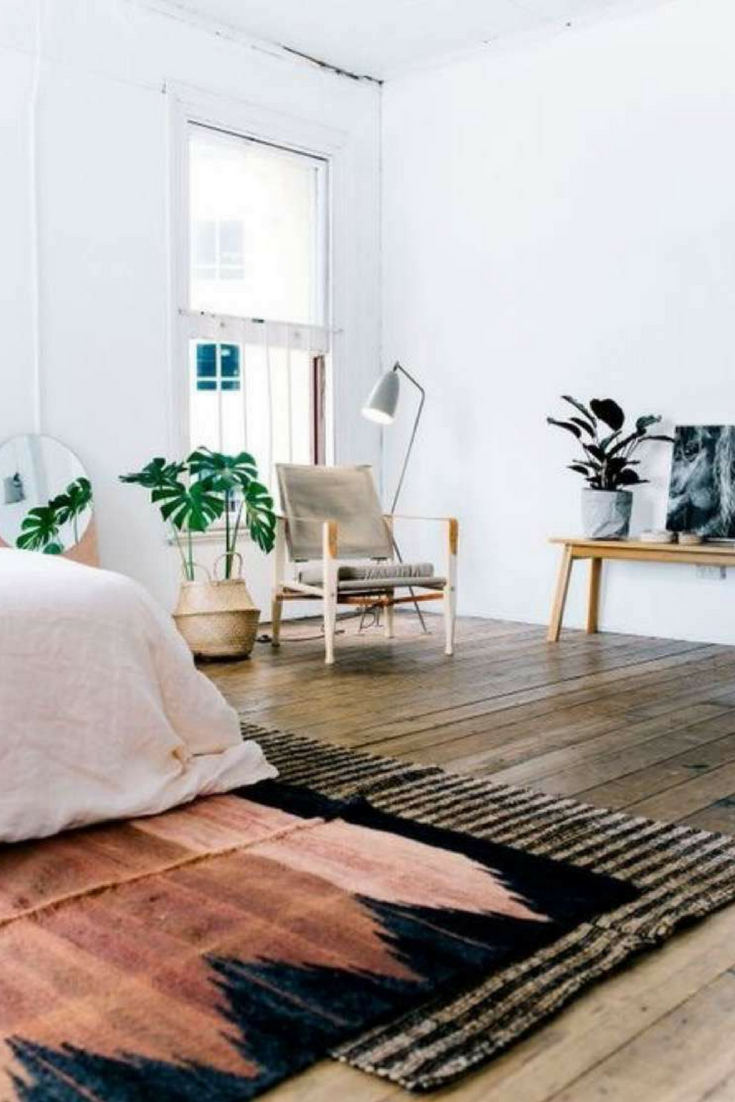 Mix pattern and colors to add action into minimalistic room – Layering rugs trend inspiration. Check our ideas at www.olliePopDesign.com and follow us on Pinterest @olliepop_design for more interior design and home decor ideas #homedecor #rugs #interiordesignideas