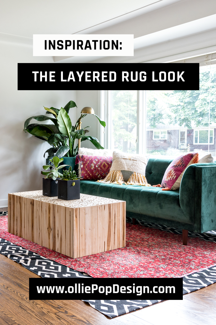 Tips and Inspiration on how to master layering rugs trend to spice up your home. Check it out at www.olliePopDesign.com and follow us on Pinterest @olliepop_design for more interior design and home decor ideas #homedecor #rugs #interiordesignideas