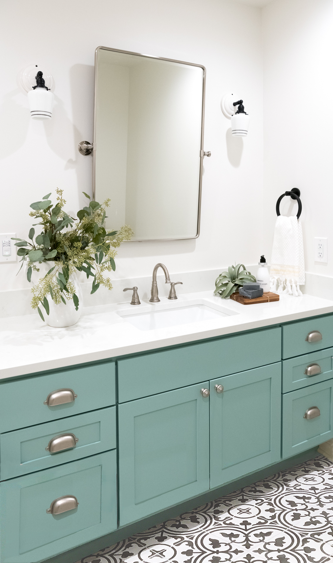 mint green bathroom vanity cement tile