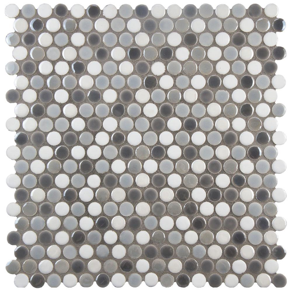 The inside of the shape will be this multi-grey penny tile. We went with these tiles because they're smaller circles than most penny tiles and a mix of gloss and matte in each sheet. These are custom ordered through one of our vendors but you may be able to get them online at Home Depot.