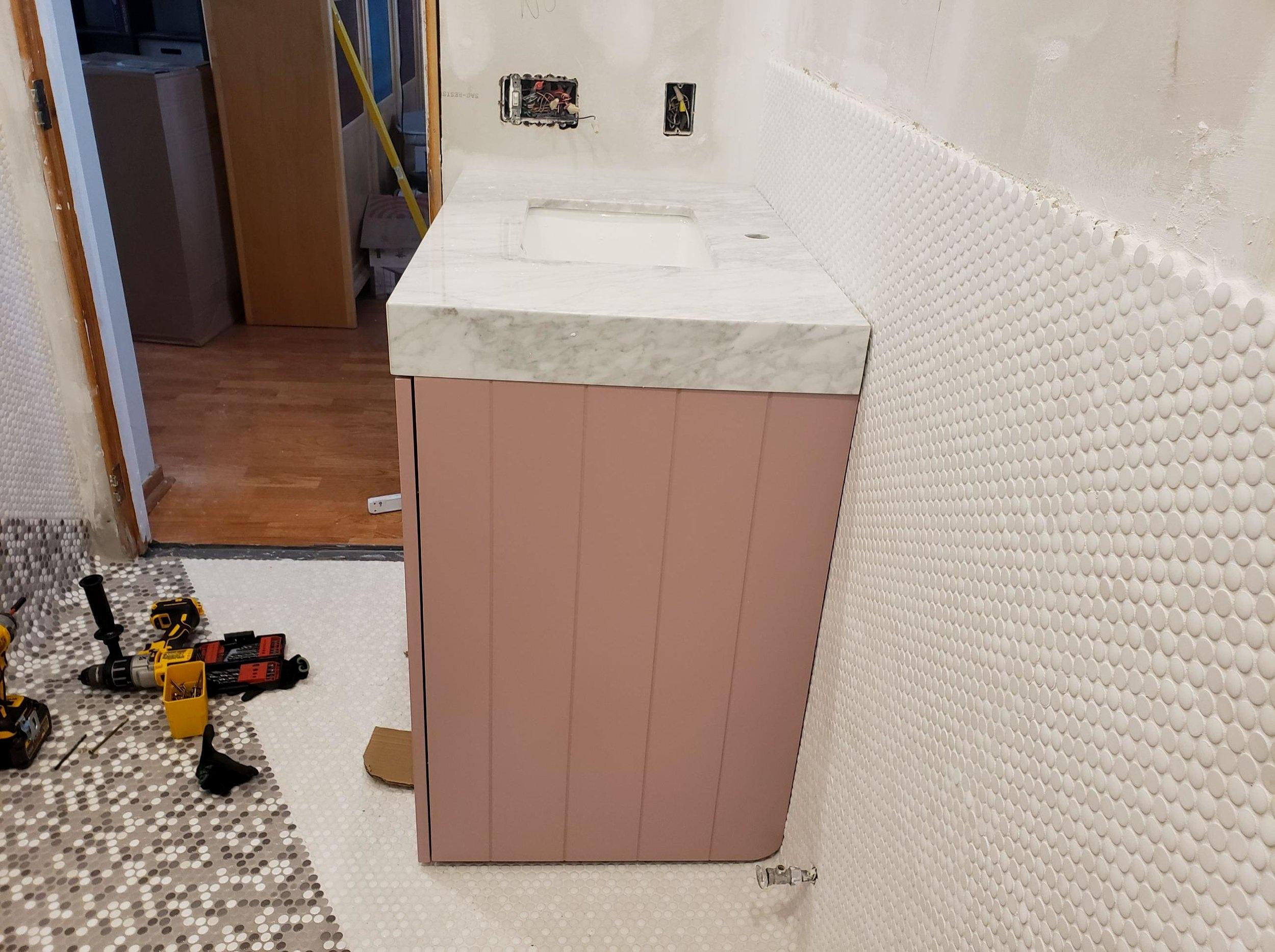 mauve+pink+vanity+Carrara+marble+top