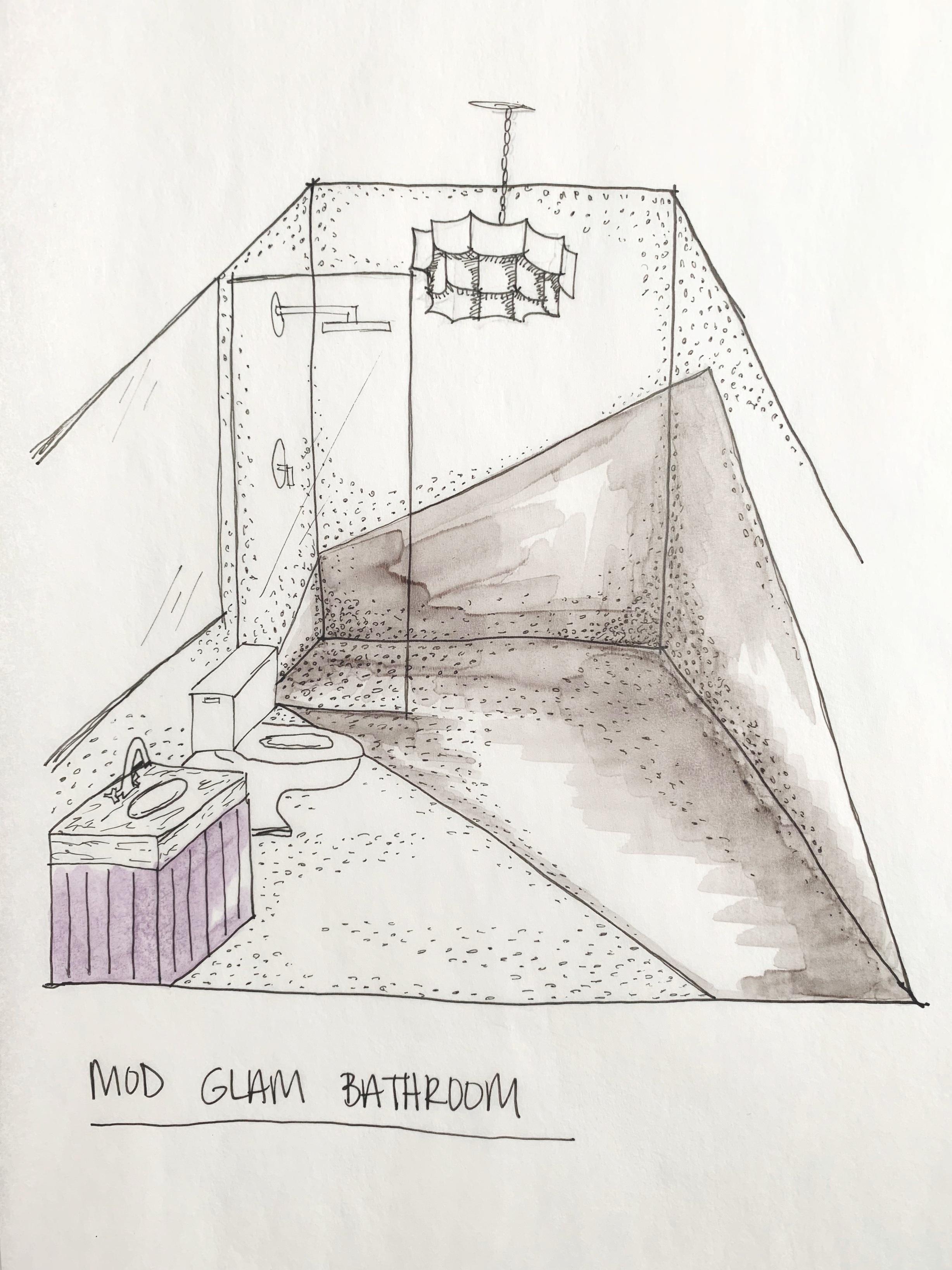 colorful glam bathroom rendering