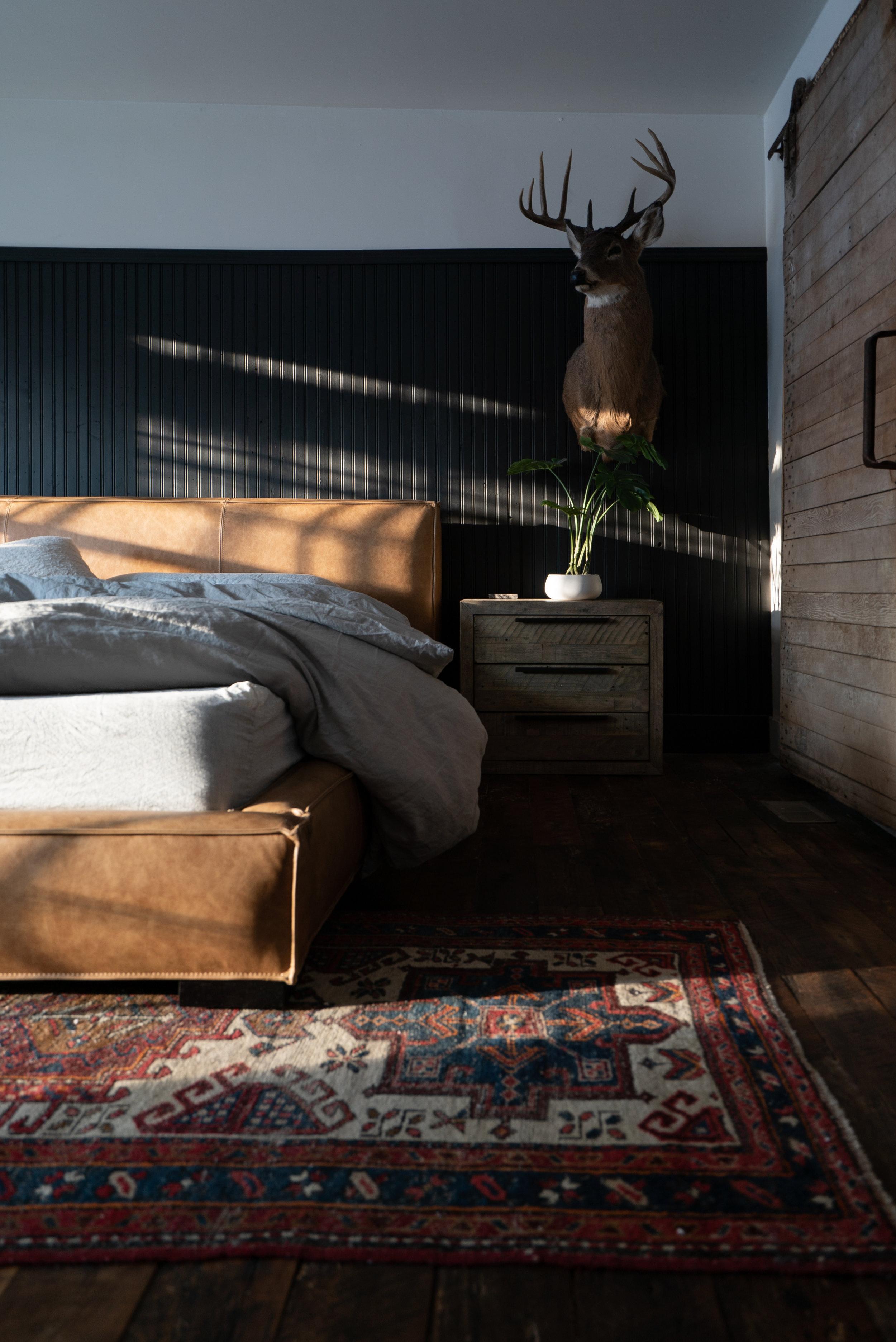 Nordic master bedroom headboard wall