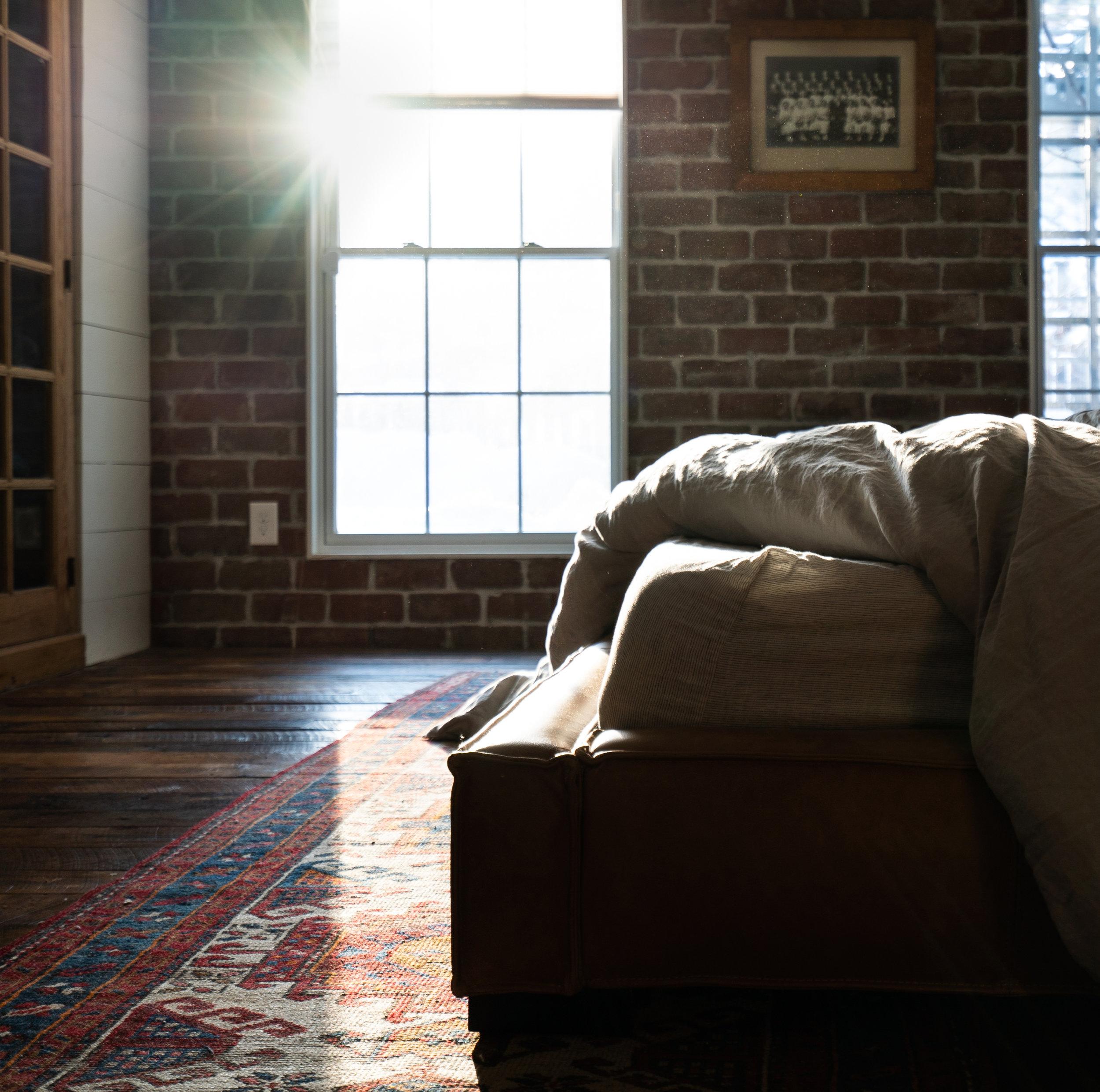 moody industrial vintage master bedroom
