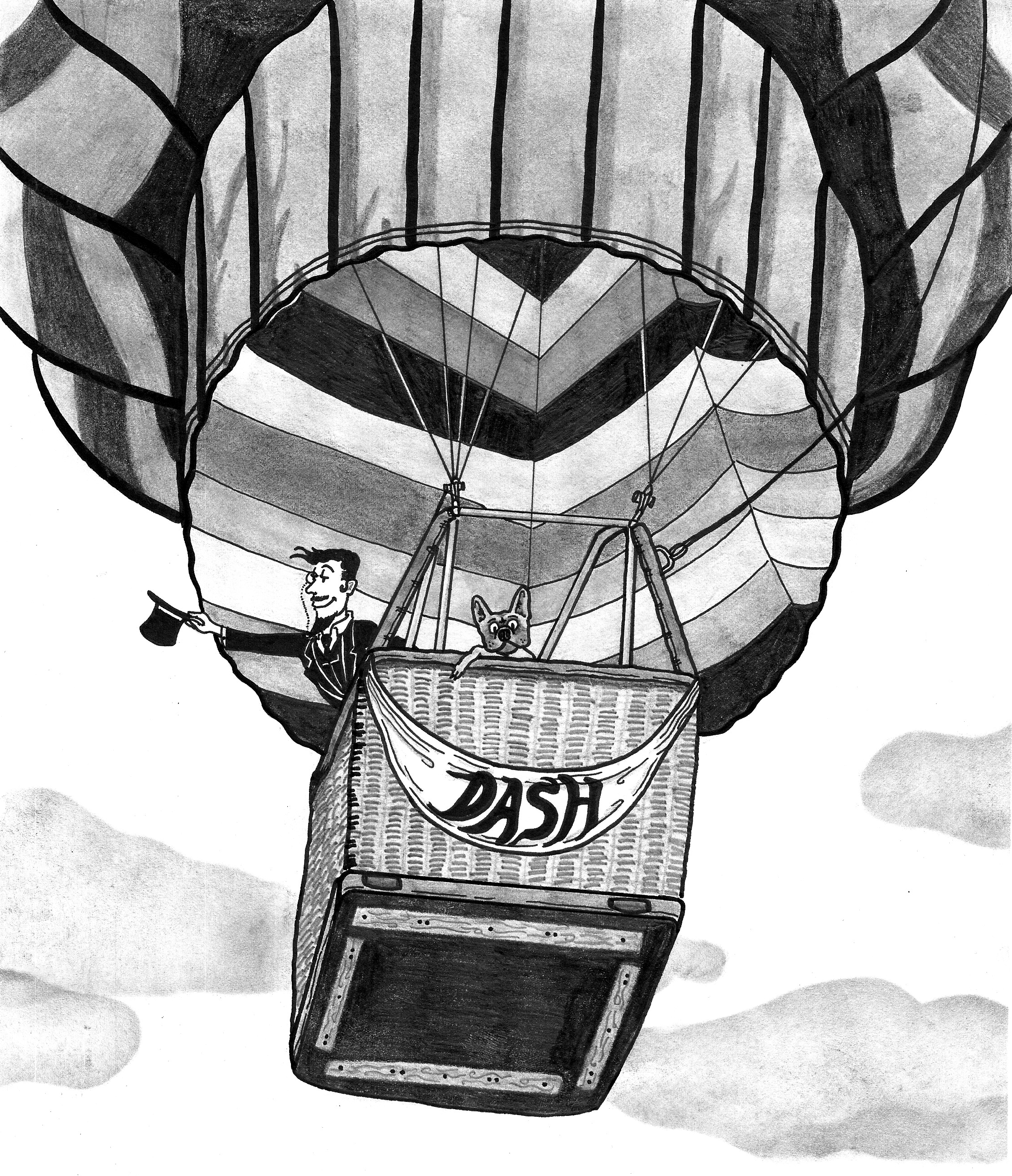Dash Happenstance has been known to travel by hot air balloon, and rental car.