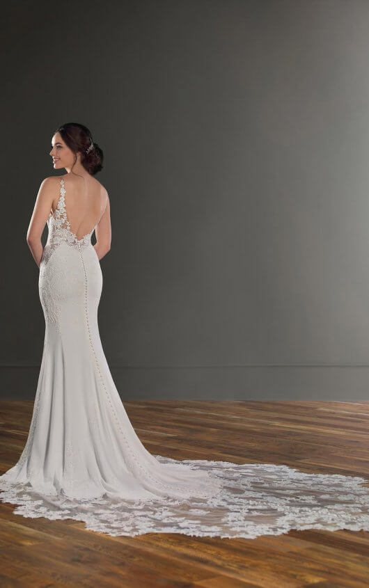 "Martina Liana - Style 1025  ""A modern update to traditional lace, this botanical lace detailed wedding dress with shaped train from Martina Liana is the perfect balance of sexy and romantic. """