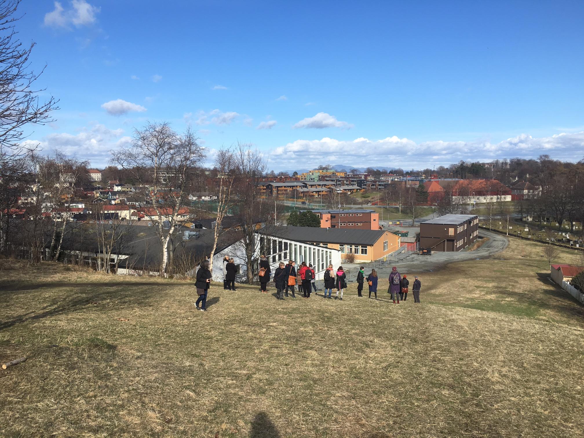 Utsikten ned mot skolen fra toppen av Grønnlia.