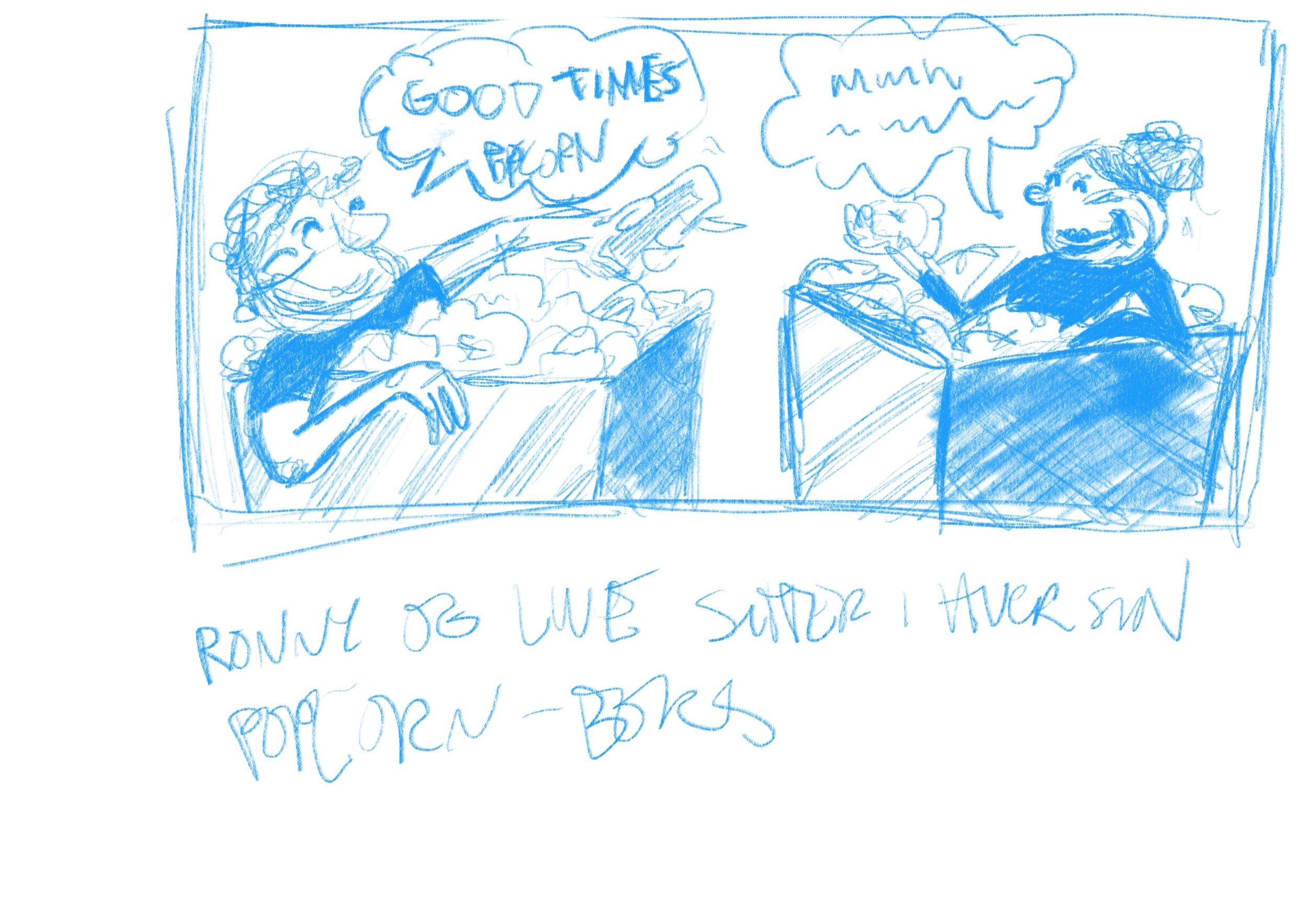 Ronny og Live badet på et tidspunkt i popcorn.