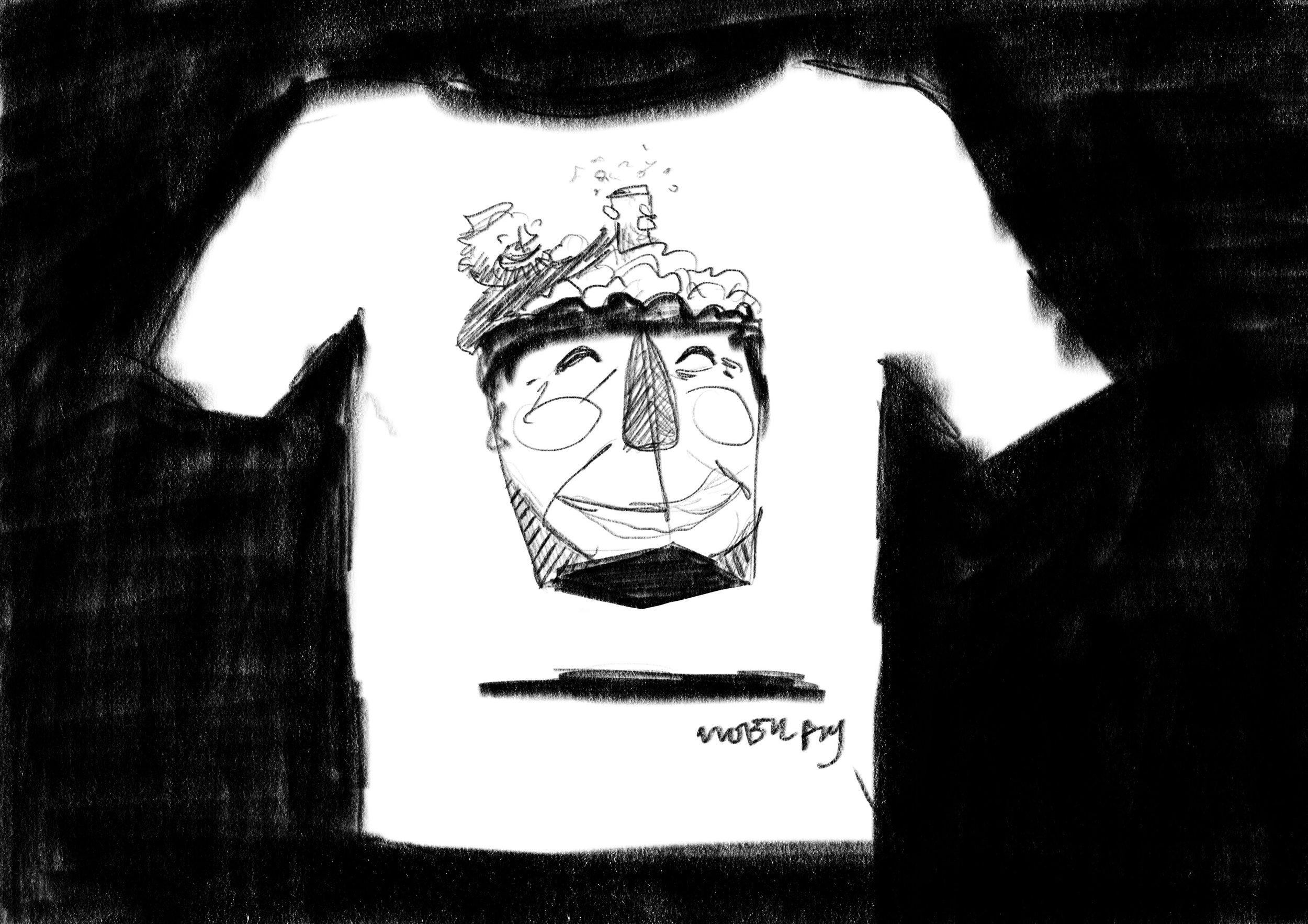 Meta t-shirt: Ronny spiser popcorn mens han sitter i PopcornRonnys popcornhjerne. Ble litt søkt..