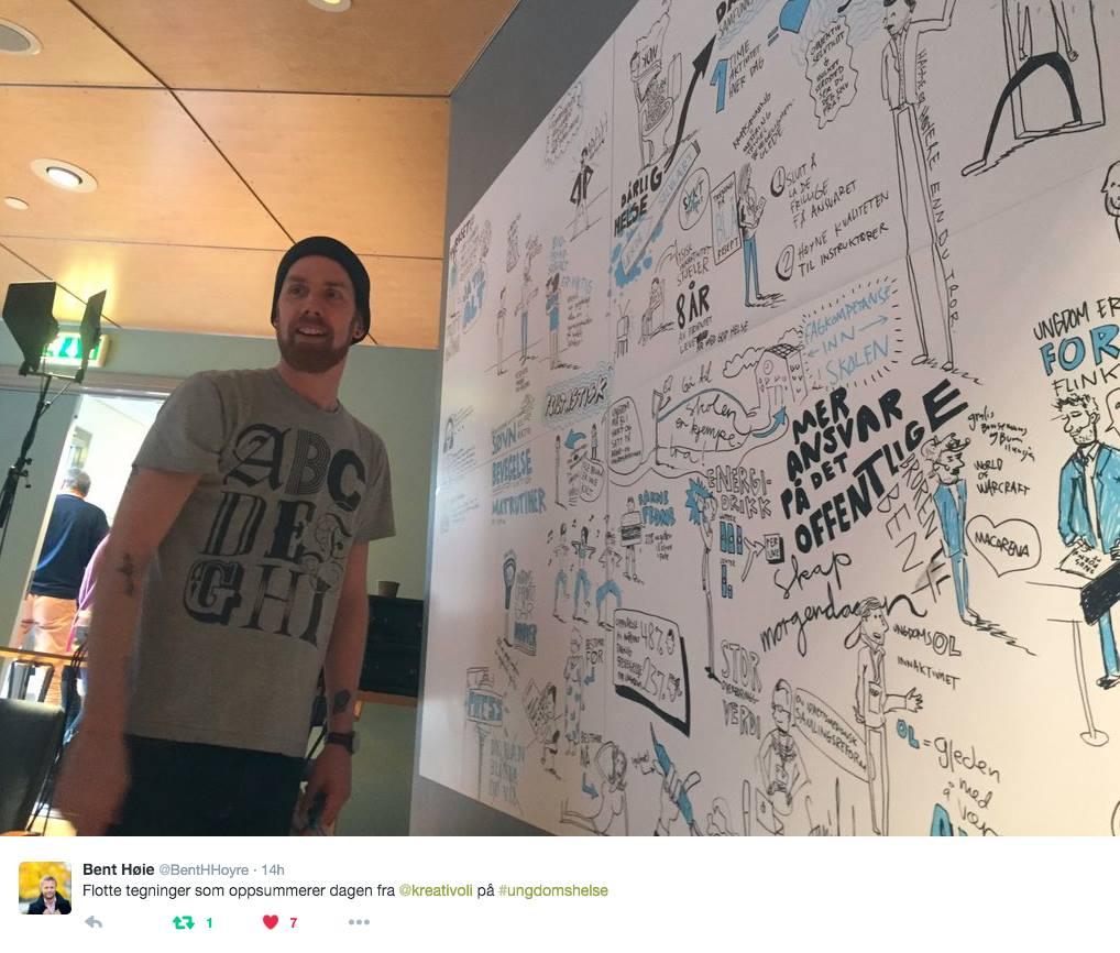 Helseminister Bent Høie liker også live-tegninger. Her fra Ungdomshelsekonferansen i 2016