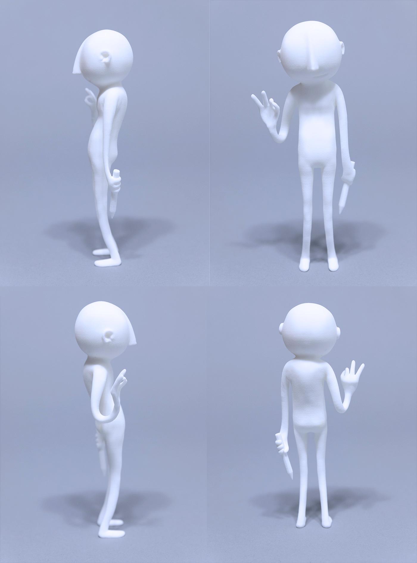 """""""Tegn på alt. Alltid."""", 3Dprintet skulptur, 20 cm høy."""
