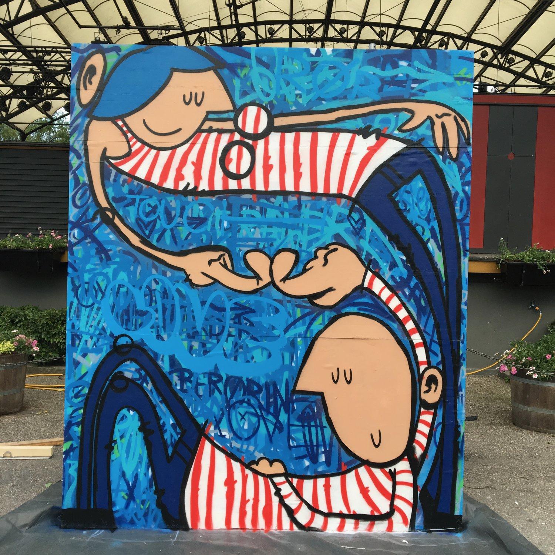 """""""Human Touch"""" - en av tre vegger jeg malte."""