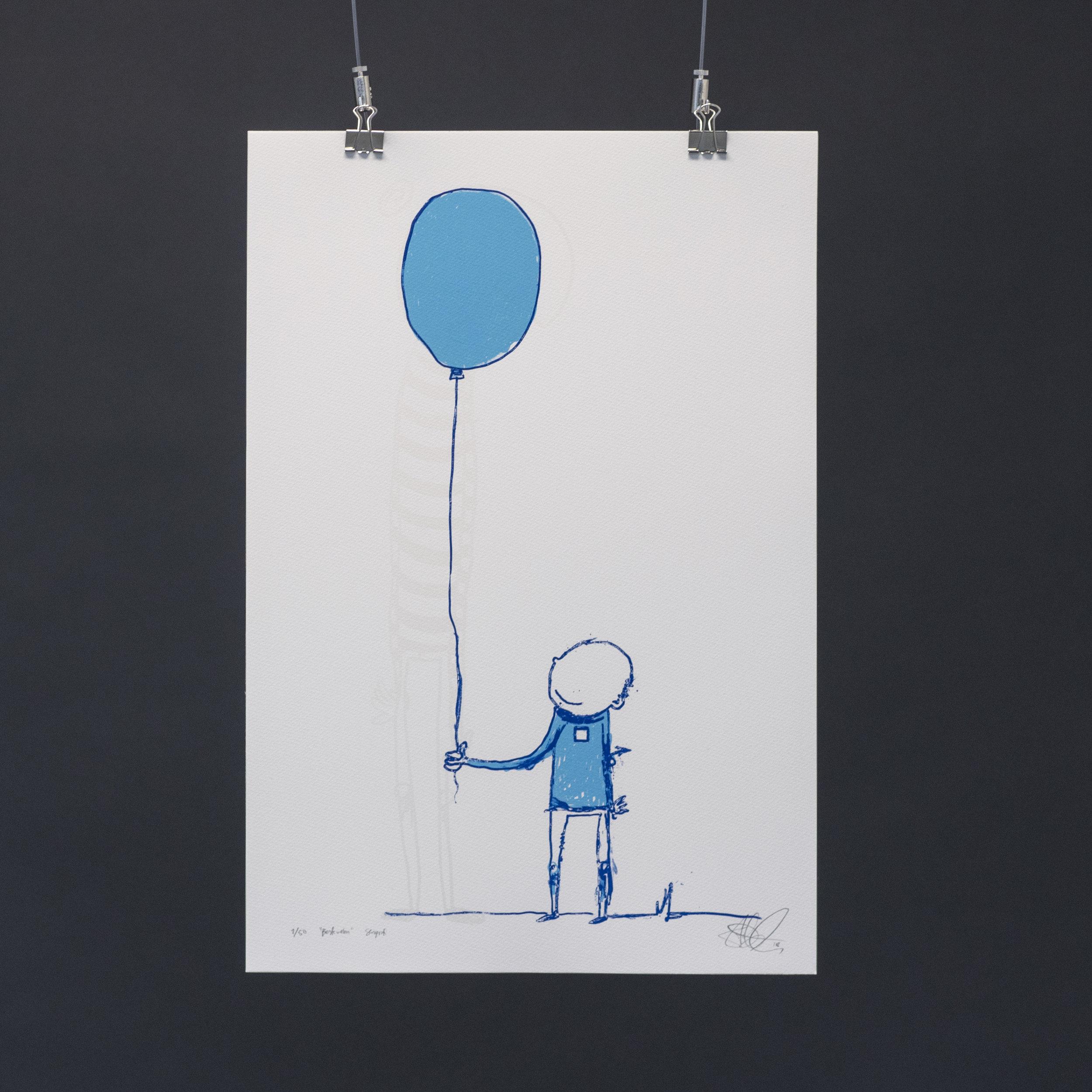 """""""Bestevenn"""", 2018, trefarget silketrykk. 55x37,5 cm. Avbildet i lyset."""