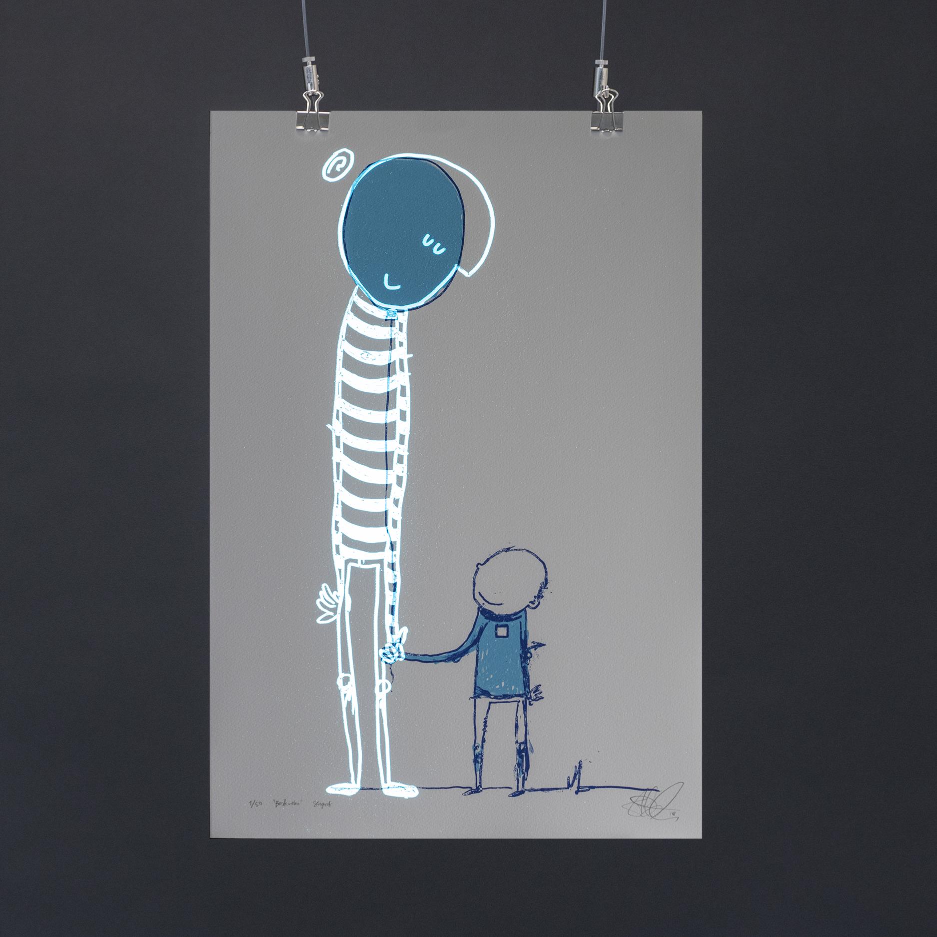 """""""Bestevenn"""", 2018, trefarget silketrykk. 55x37,5 cm. Avbildet i mørket med litt lysinnslipp.."""