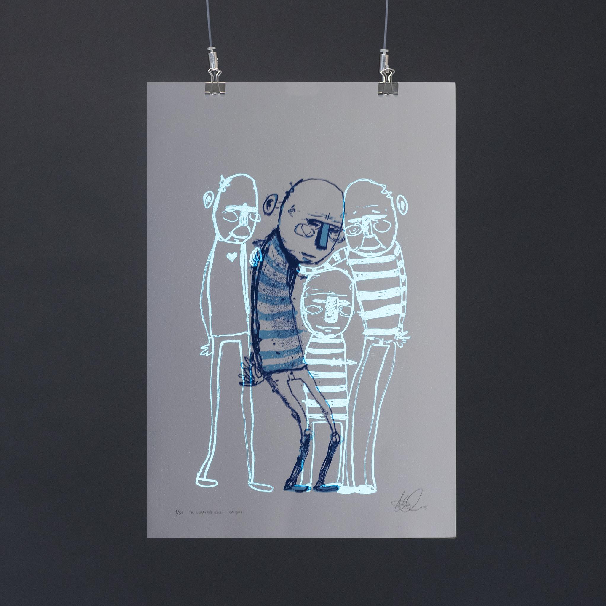 """""""Du er aldri helt alene"""", 2018, trefarget silketrykk. 55x37,5 cm. Avbildet i mørket med litt lysinnslipp."""