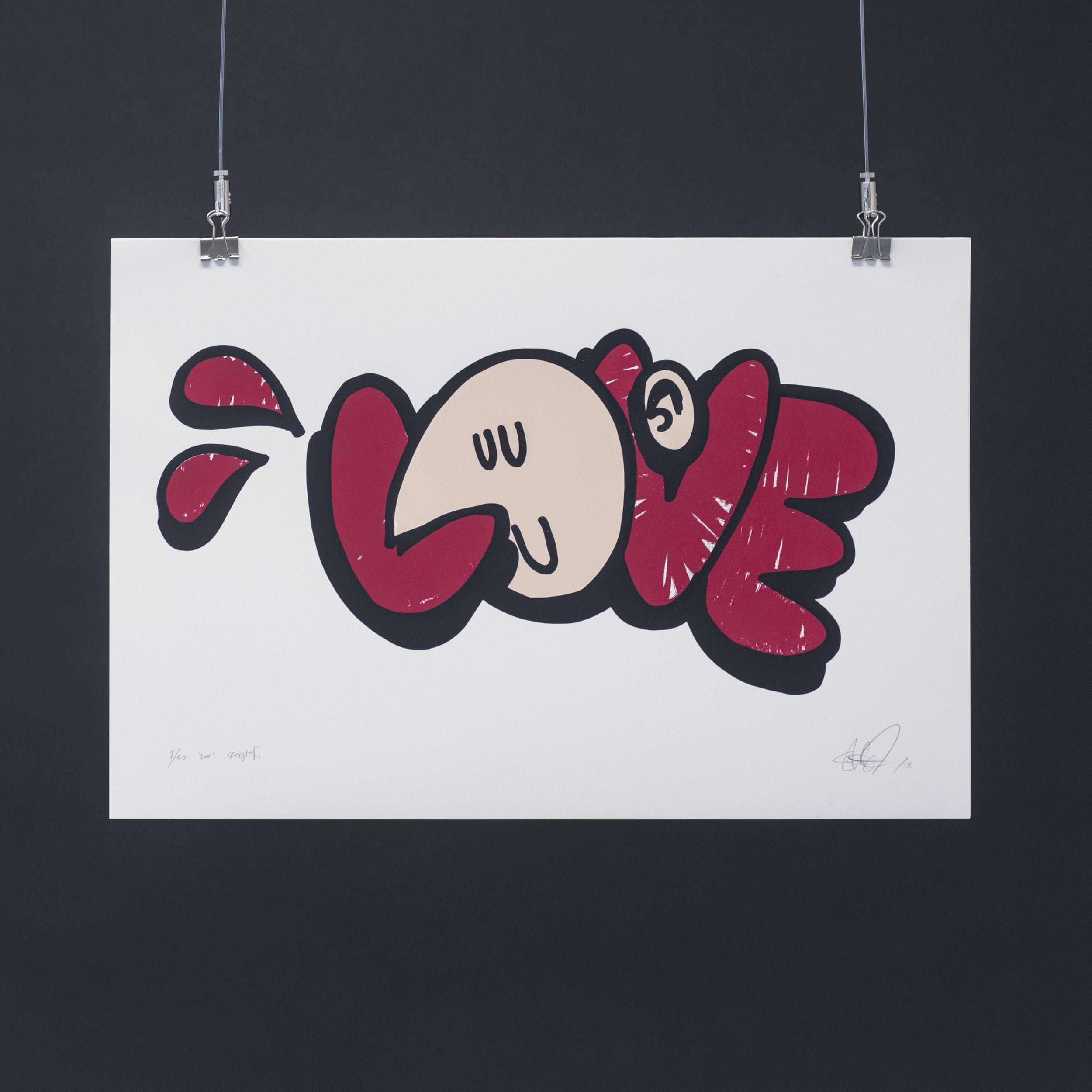 """""""Love"""", 2018, trefarget silketrykk. 55x37,5 cm."""