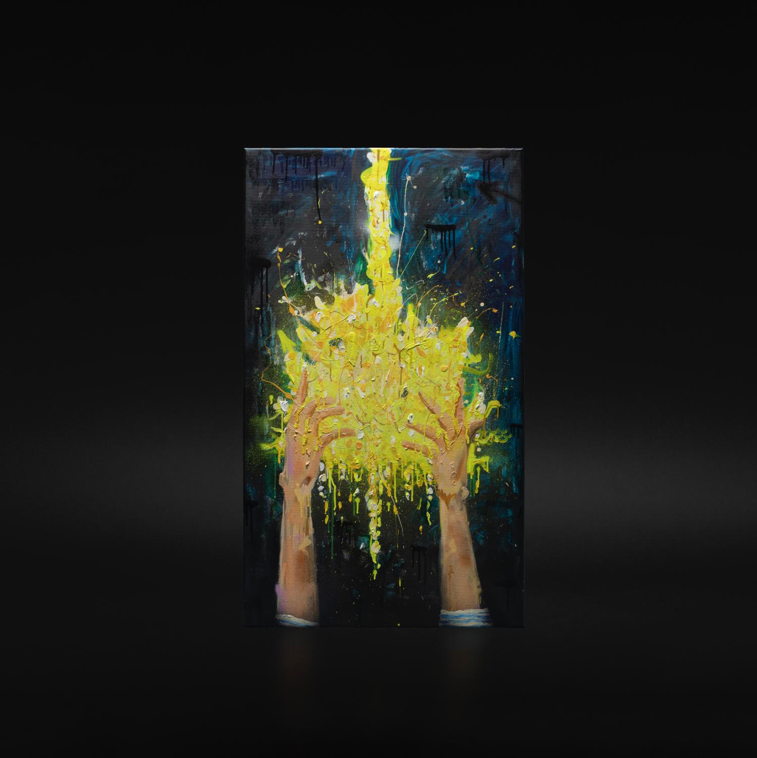 """""""Kroning"""", 2018, 70 x 120 cm, blandingsteknikk på linlerret. 🔴SOLGT"""