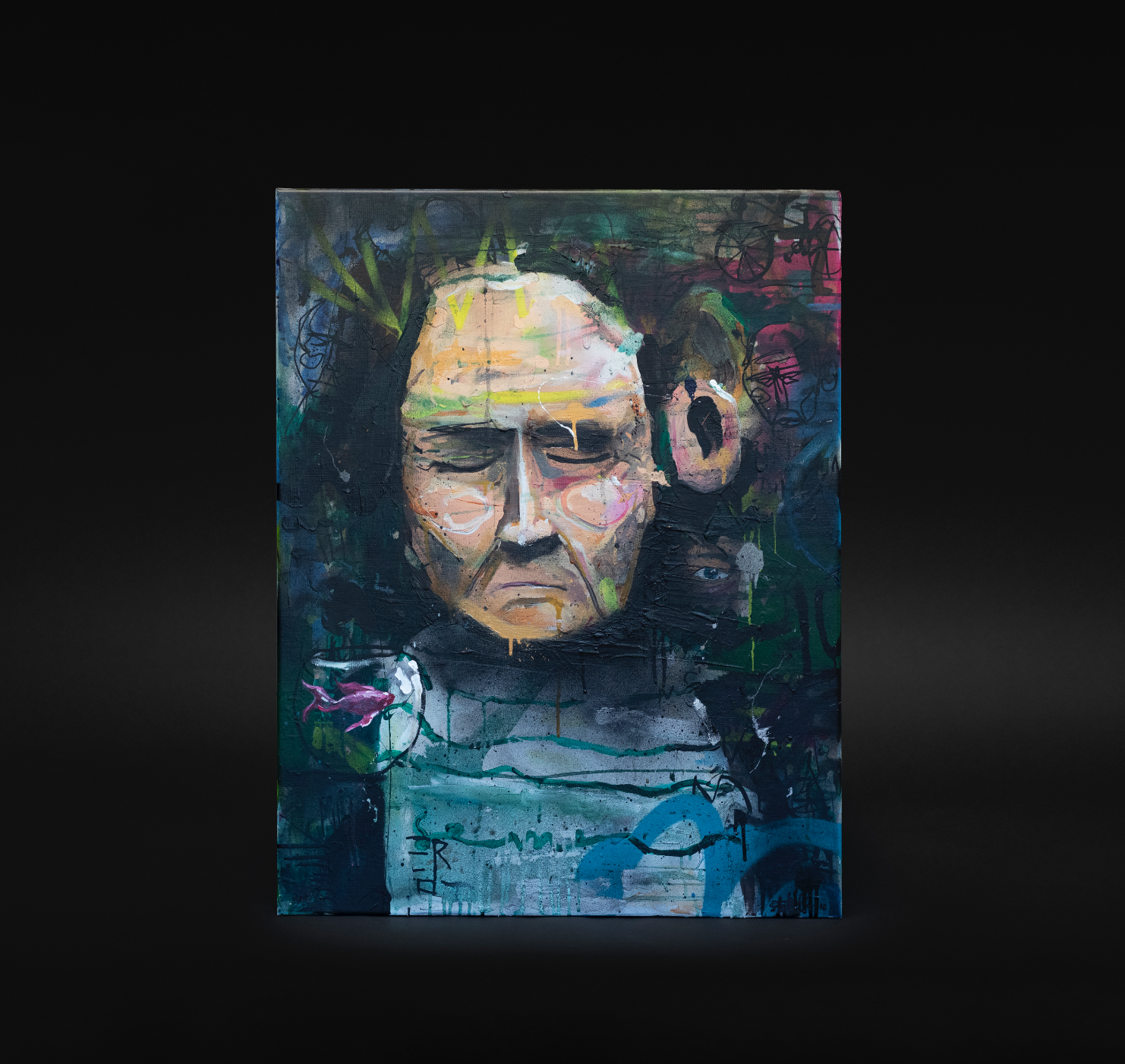 """""""Gullfiskhukommelse"""", 2018, 70 x 90 cm, blandingsteknikk på linlerret."""