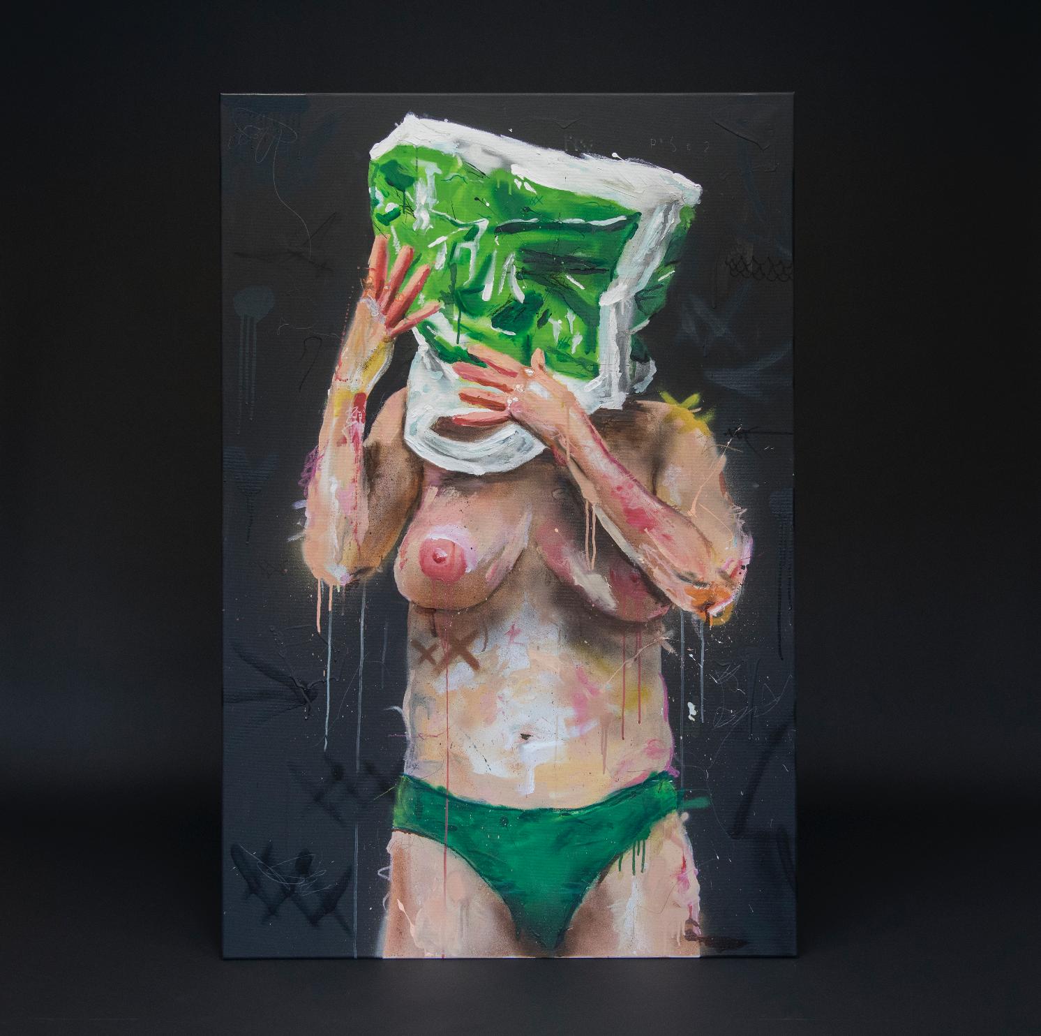 """""""Pose? (grønn)"""", 2018, 100 x 150 cm, blandingsteknikk på linlerret."""