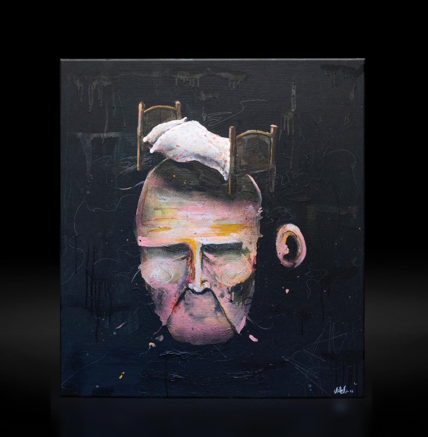 """""""Under senga"""", 2018, 90 x 100 cm, blandingsteknikk på linlerret. 🔴SOLGT"""