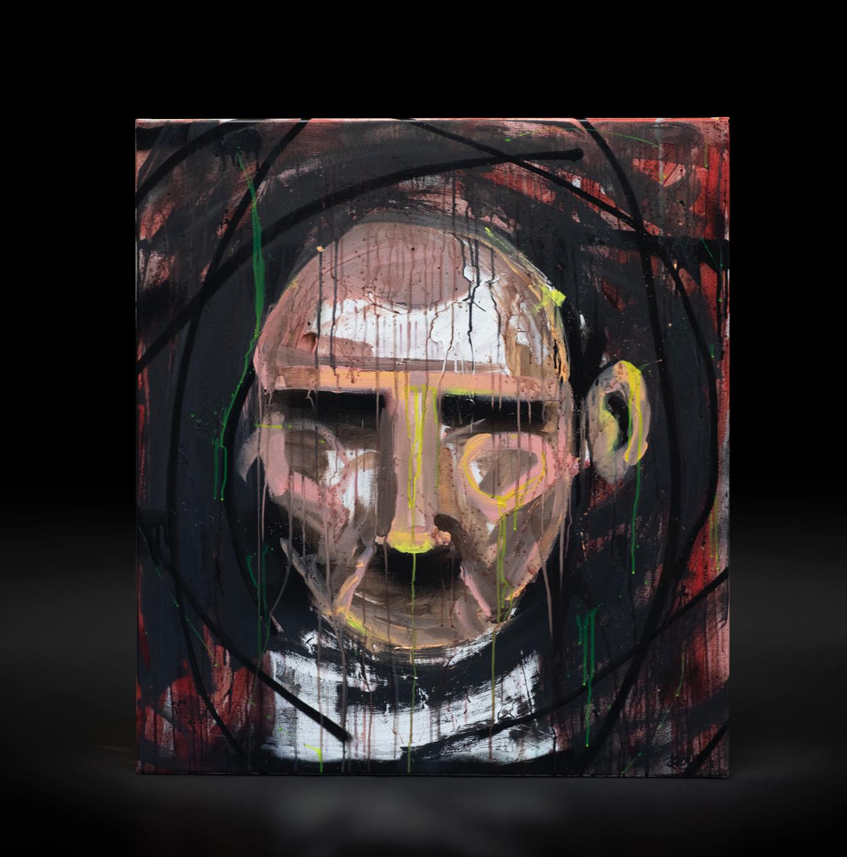 """""""Alt vi ikke ser"""", 2018, 90 x 100 cm, blandingsteknikk på linlerret."""