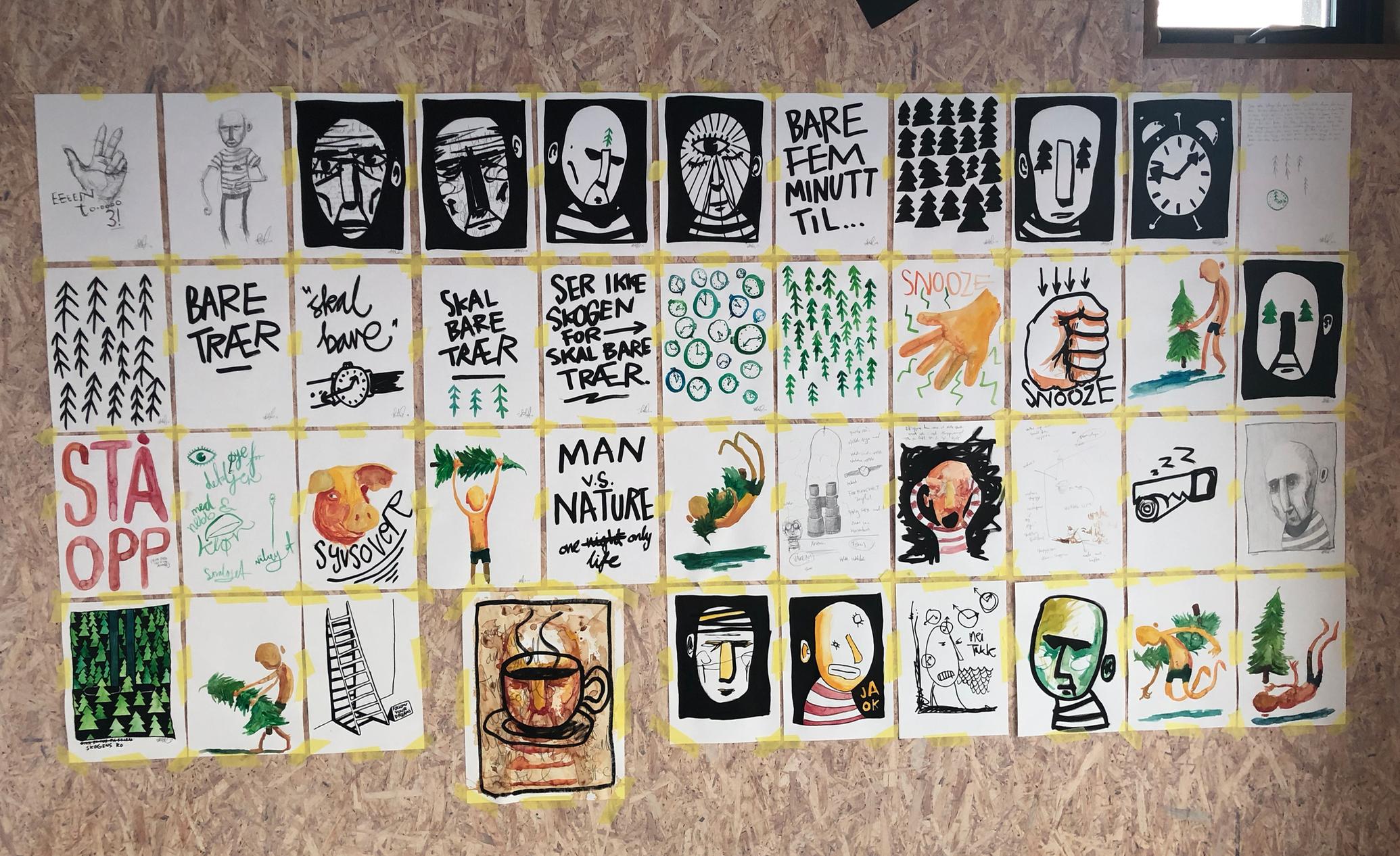 """En vegg av tanker. Mange av disse tankene ble til utstillingen """"Turer i skog & mark"""" de andre ble med til """"Våken""""."""