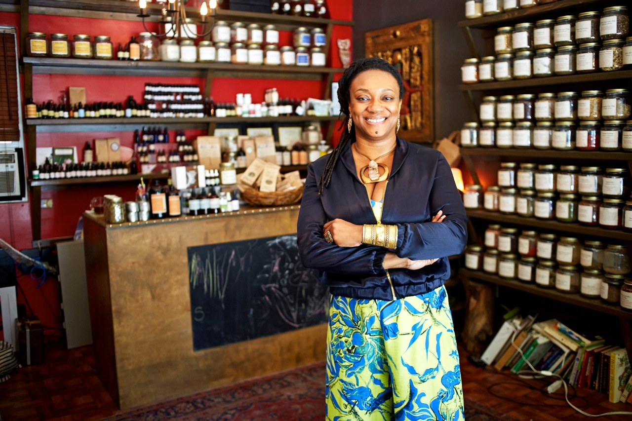 Herbalist & Founder, Karen Rose inside Sacred Vibes Apothecary, Brooklyn NY