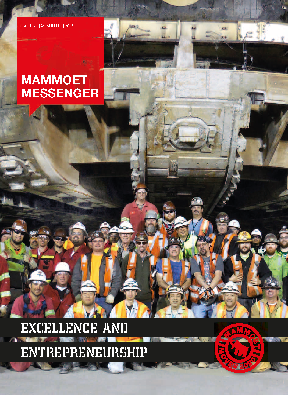 Mammoet, HItachi and Seattle Tunnel Partners' crews after the successful 16-hour lift of TBM (Bertha) Center Drive Unit.