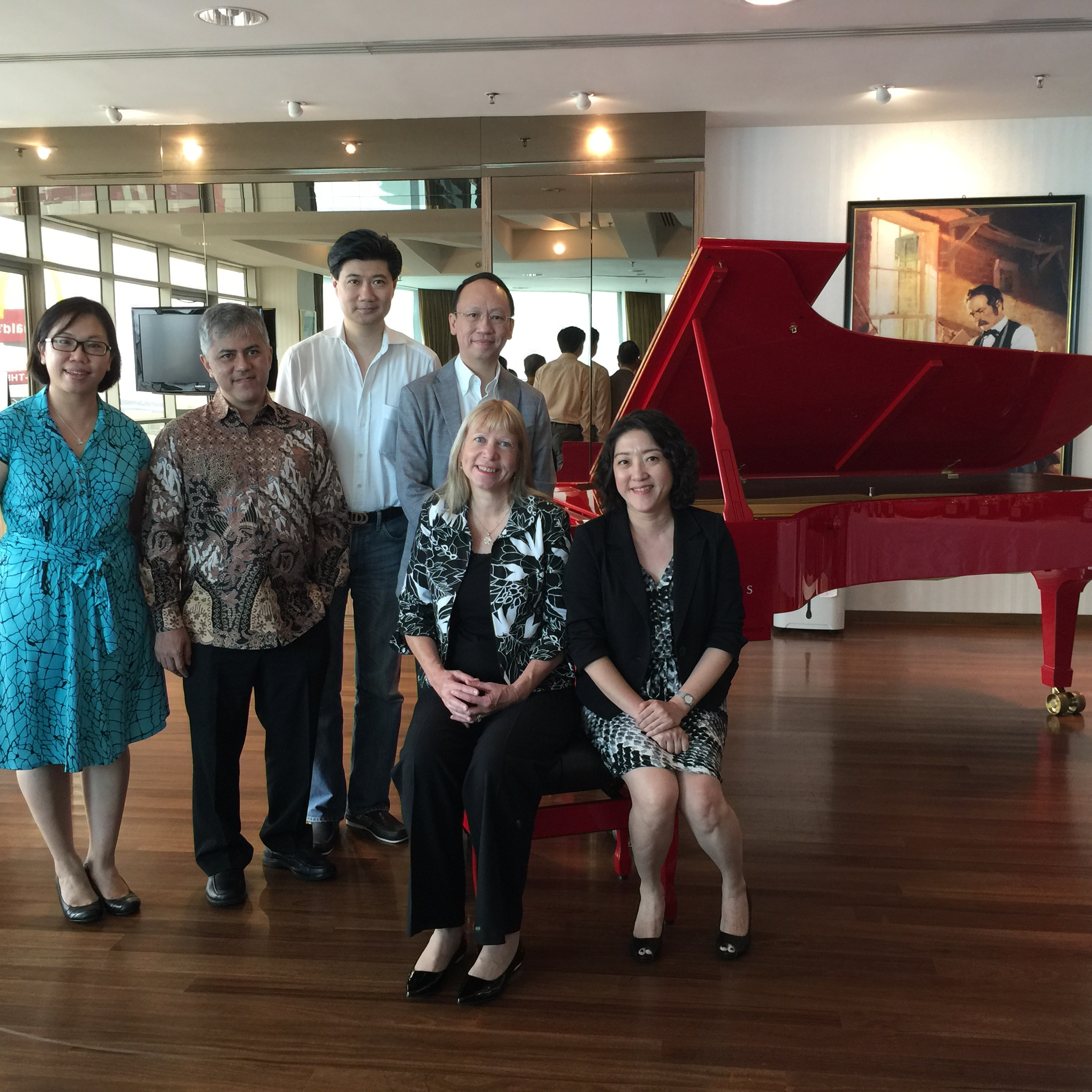 Jury members (front seated) Lindsey Butterfield (left), Chee Su Yen (right). Back standing: from right to left - BL, Andrew Ma, Iswargia Sudarno. Far left standing: Fan Sow Mun (Competition Director)