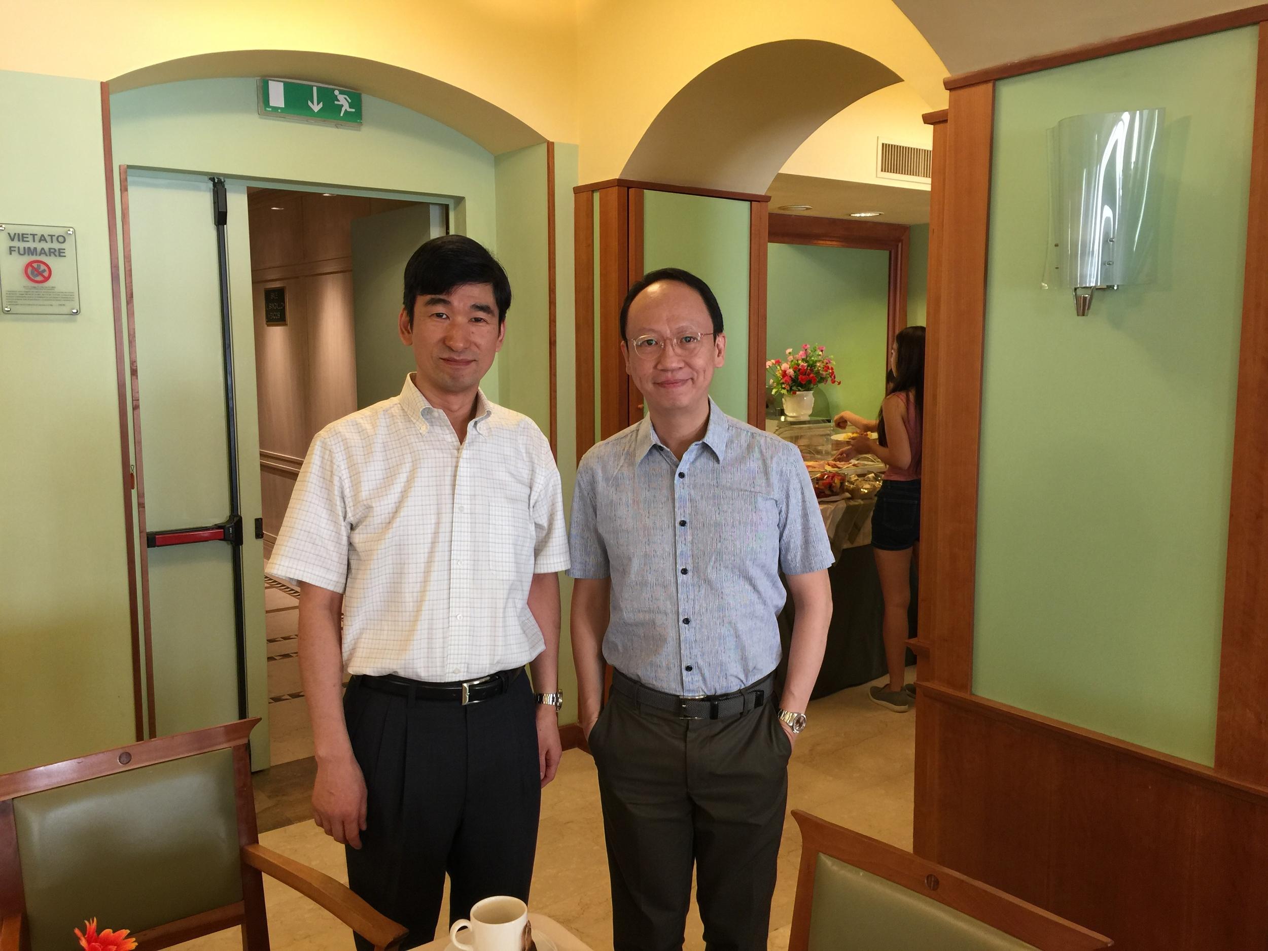 With fellow professor, Masahiro Kawakami from Japan