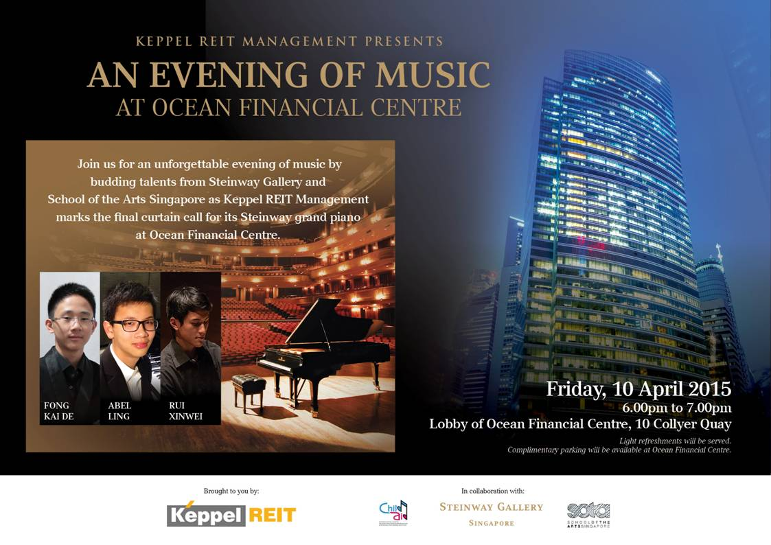 Final performance on April 10, 2015 at the Ocean Financial Centre, before the lovely Steinway D gets donated to the School of the Arts.