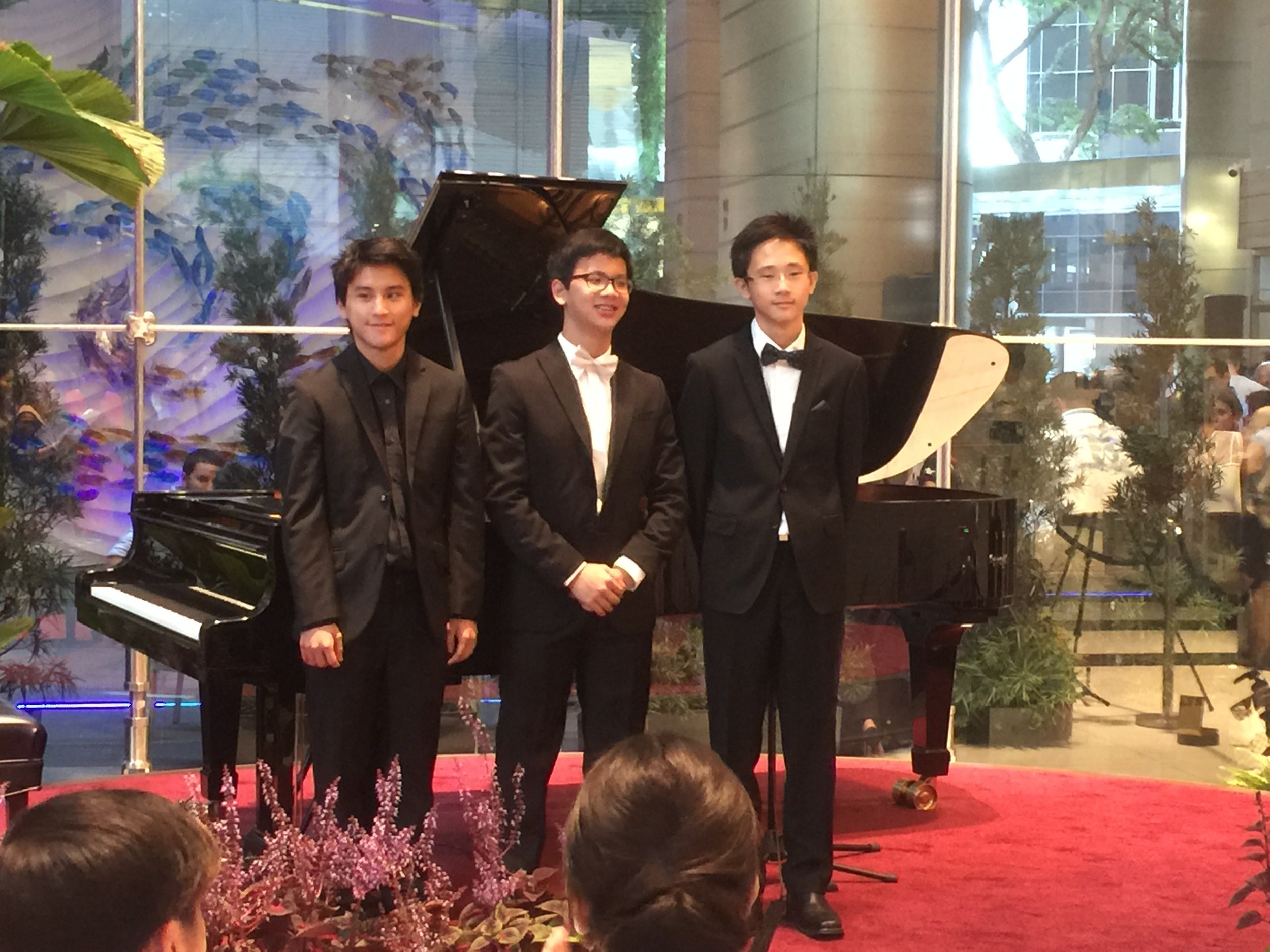 3 wonderful performances by (left to right) 20 y.o. School of the Arts student, Rui Xinwei (Ravel: Jeux d'eau), and my two private students, 13.y.o. Abel Ling and 14.y.o. Fong Kai De