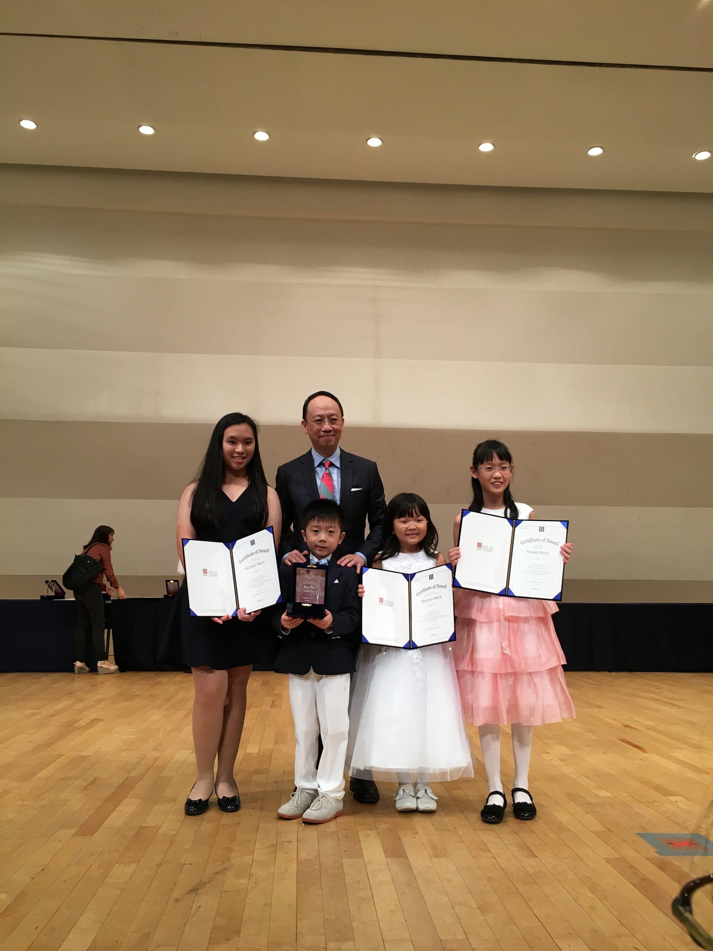 With my four prize-winning students, (from left) Jovi Koh, Cao Junwei, Yu Junqing & Vivan Li