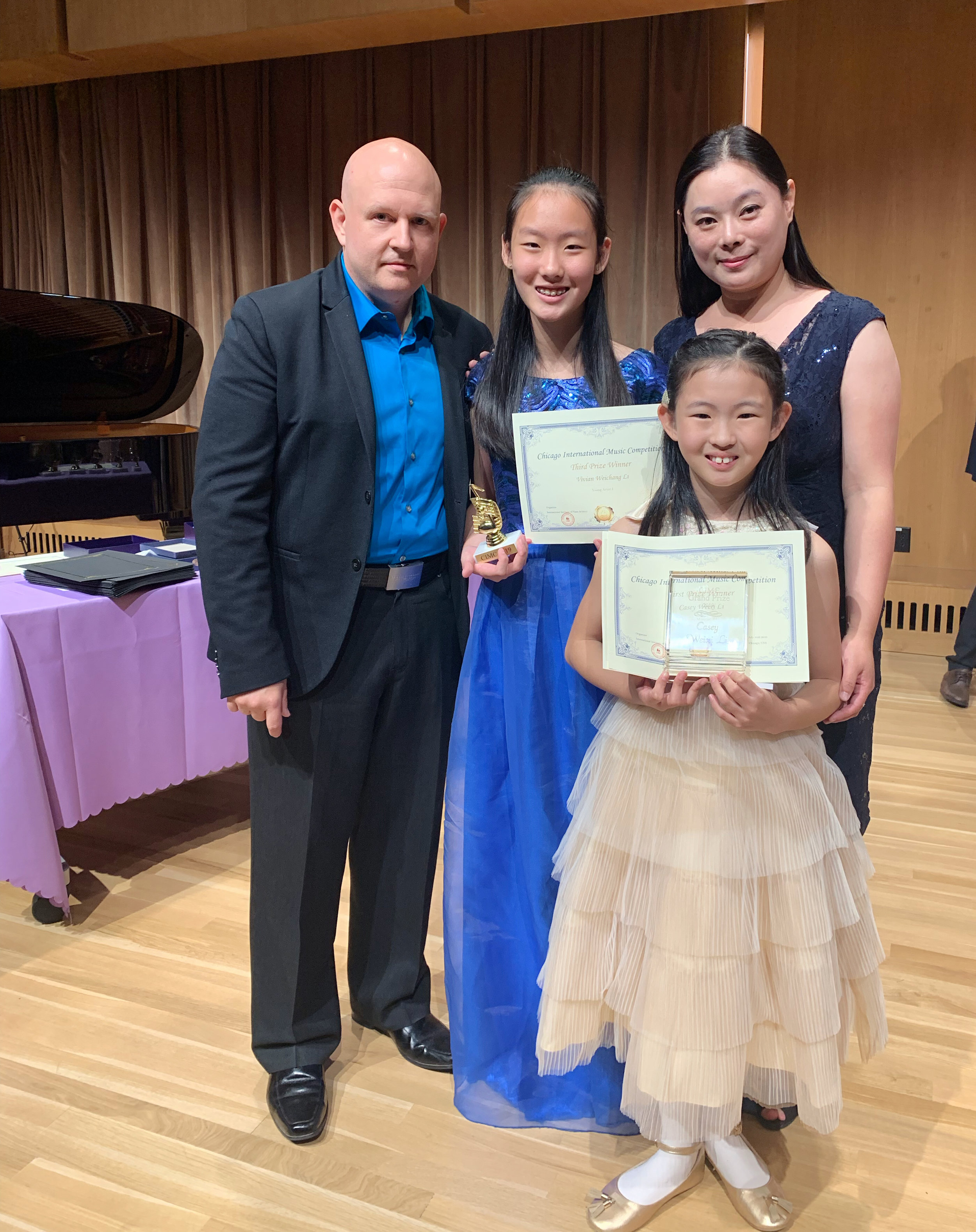 From left to right: Dr. Steven Spooner (Artistic Director of CIMC), Vivian Li, Casey Li, Dr. Mei Li (CEO of CIMC)