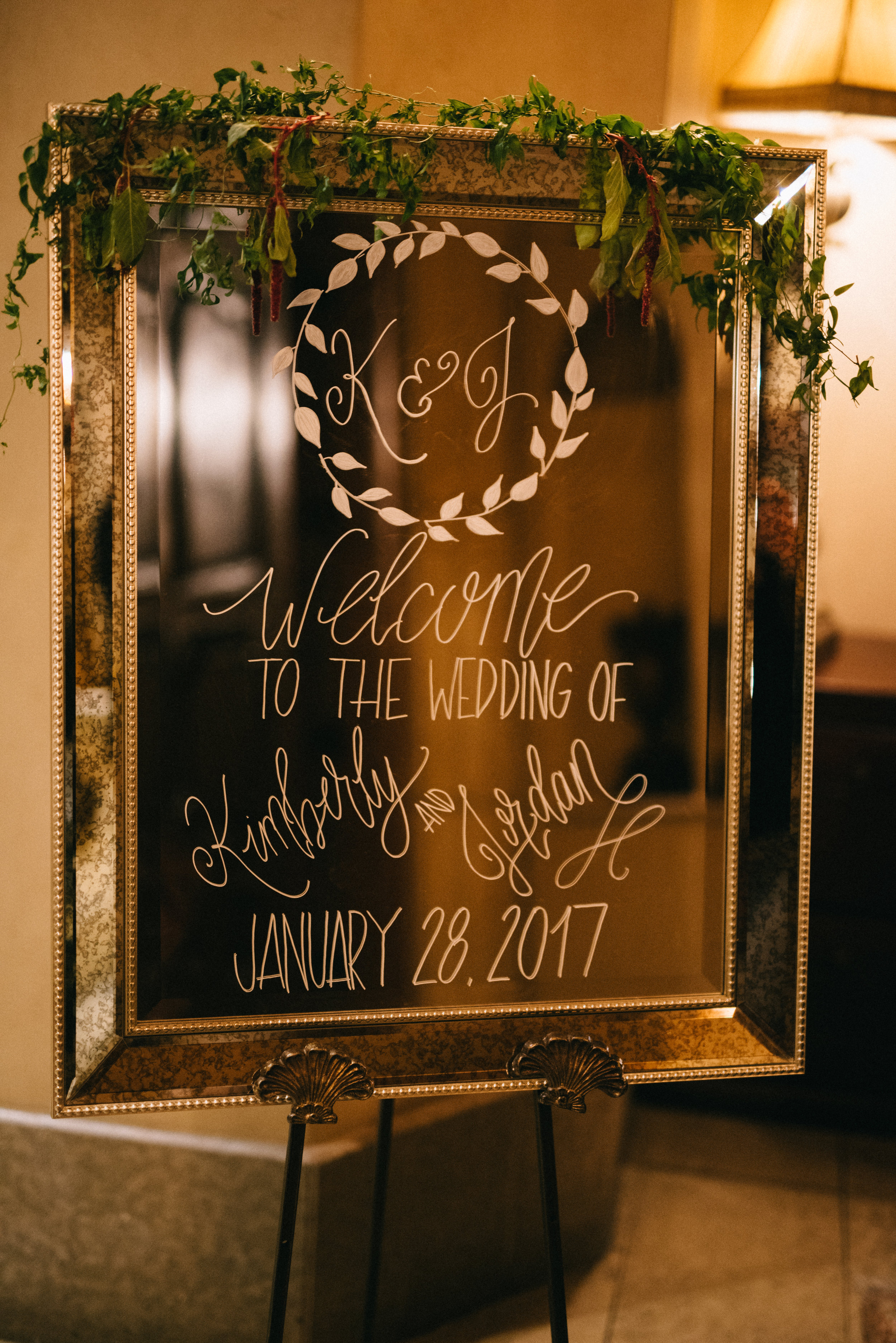 The Welcome mirror greeting guests as they entered the reception.