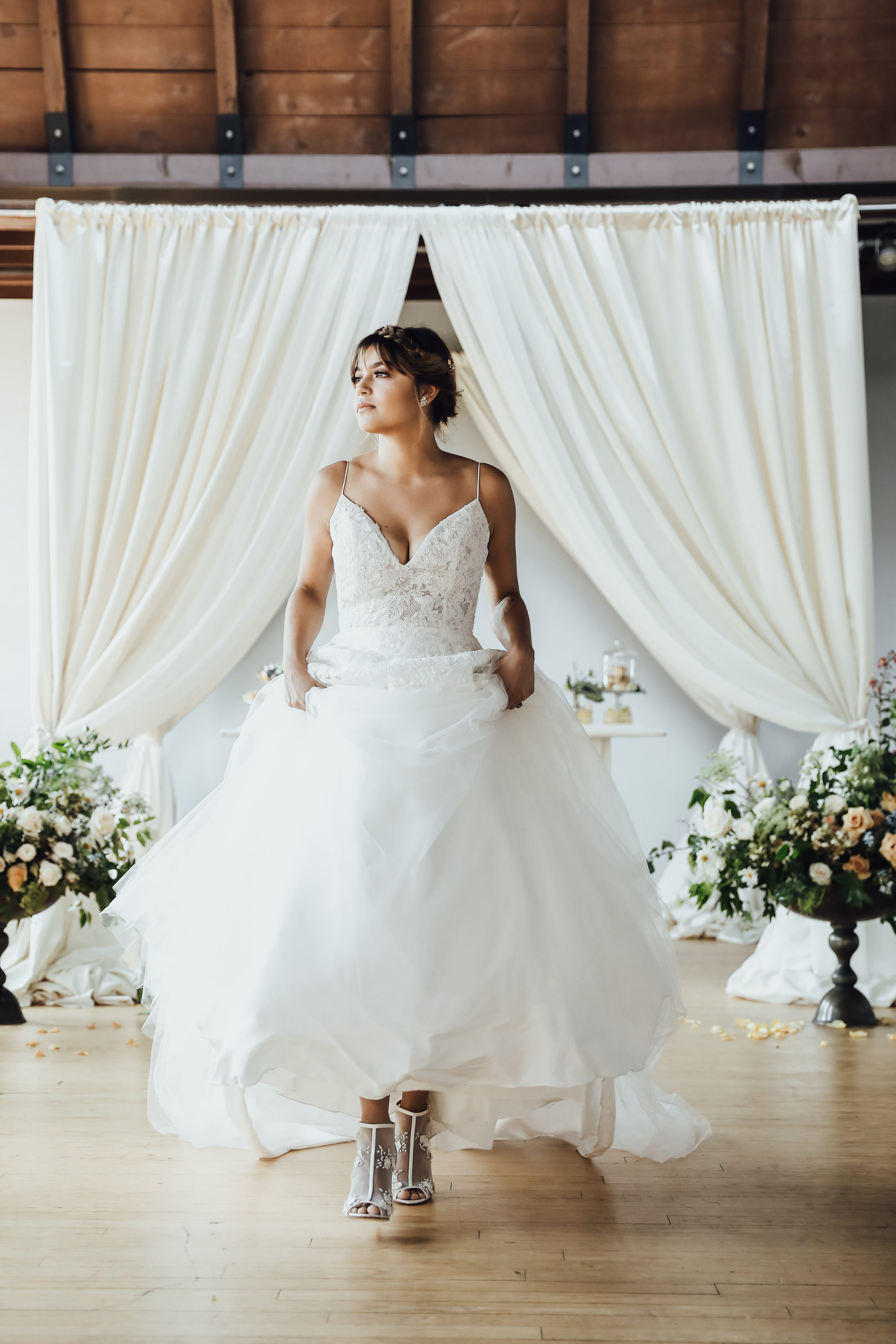 Photo by Rachel Photographs | Dress + Shoes by Chantilly Couture Bridal | Flowers by The Wild Mother | Venue: Holloway House