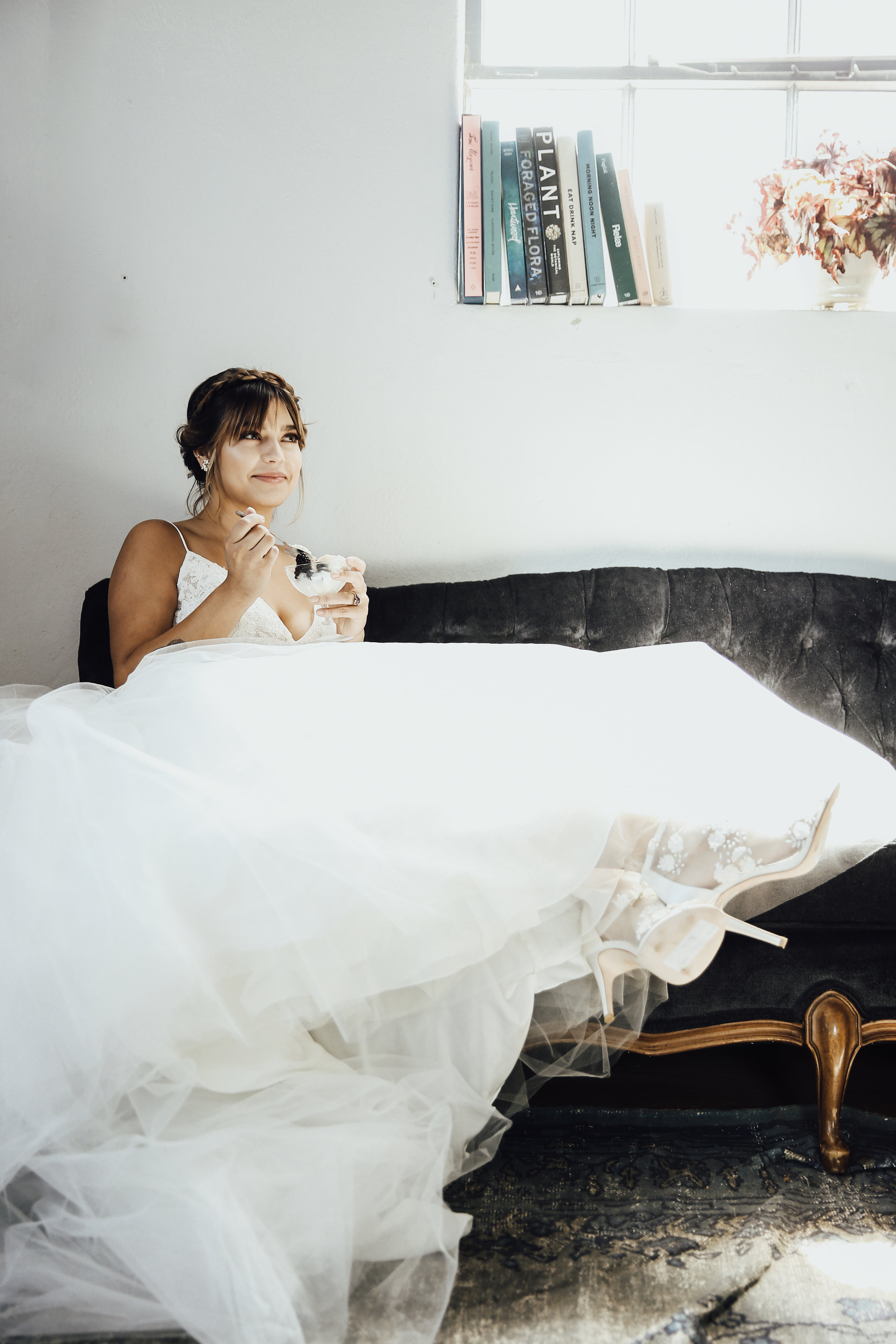 Photo by Rachel Photographs | Dress + Shoes by Chantilly Couture Bridal | Flowers by The Wild Mother | Venue: Holloway House | Model: Emily Morton | Hair + Makeup by Blo Beauty Bar