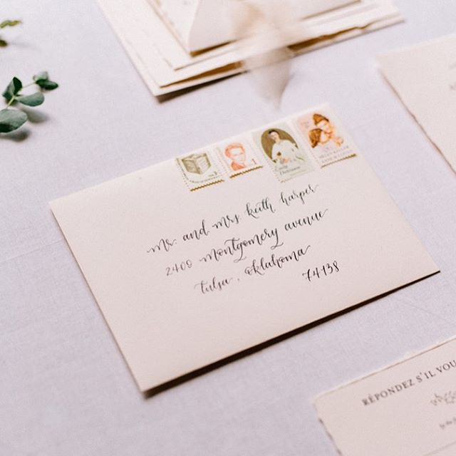 A little bit of script and some vintage stamps for your Tuesday morning! // How was your Labor Day weekend? Ours was great! Full of naps, college football, brunch, and puppy snuggles. Couldn't have asked for more!  Planning, Styling: @thetangerineclub  Photography: @joshmccullock