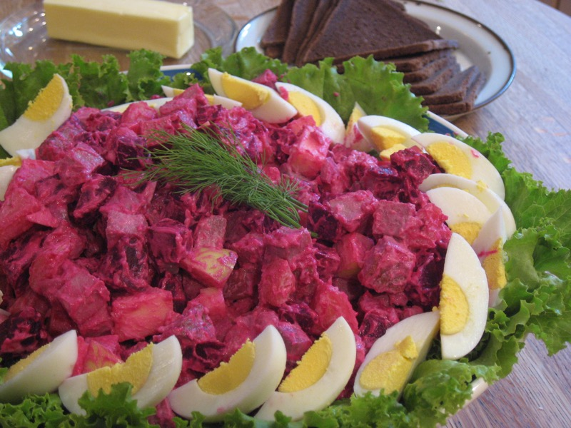One of Maili Kern's favorite dishes from Estonia:  r  osolje , a potato salad with roast beef and beets.