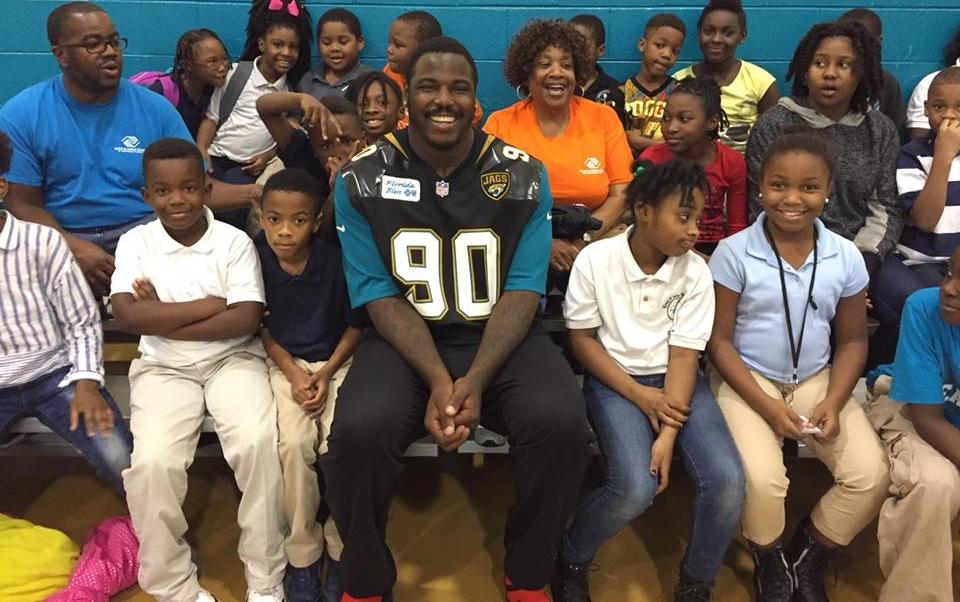 2016: Malik Jackson, DT of Jacksonville Jaguars, donates Ping Pong Tables