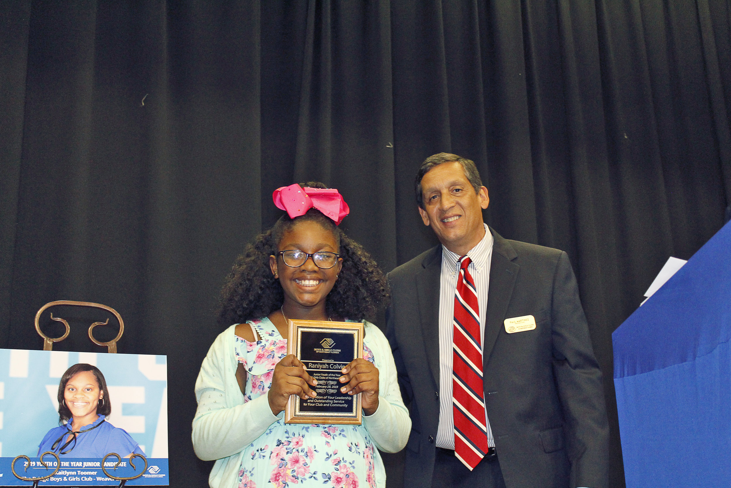 Raniyah Colvin, Boys & Girls Clubs of Northeast Florida's Junior Youth of The Year and Paul Martinez, President and CEO of Boys & Girls Clubs of Northeast Florida.
