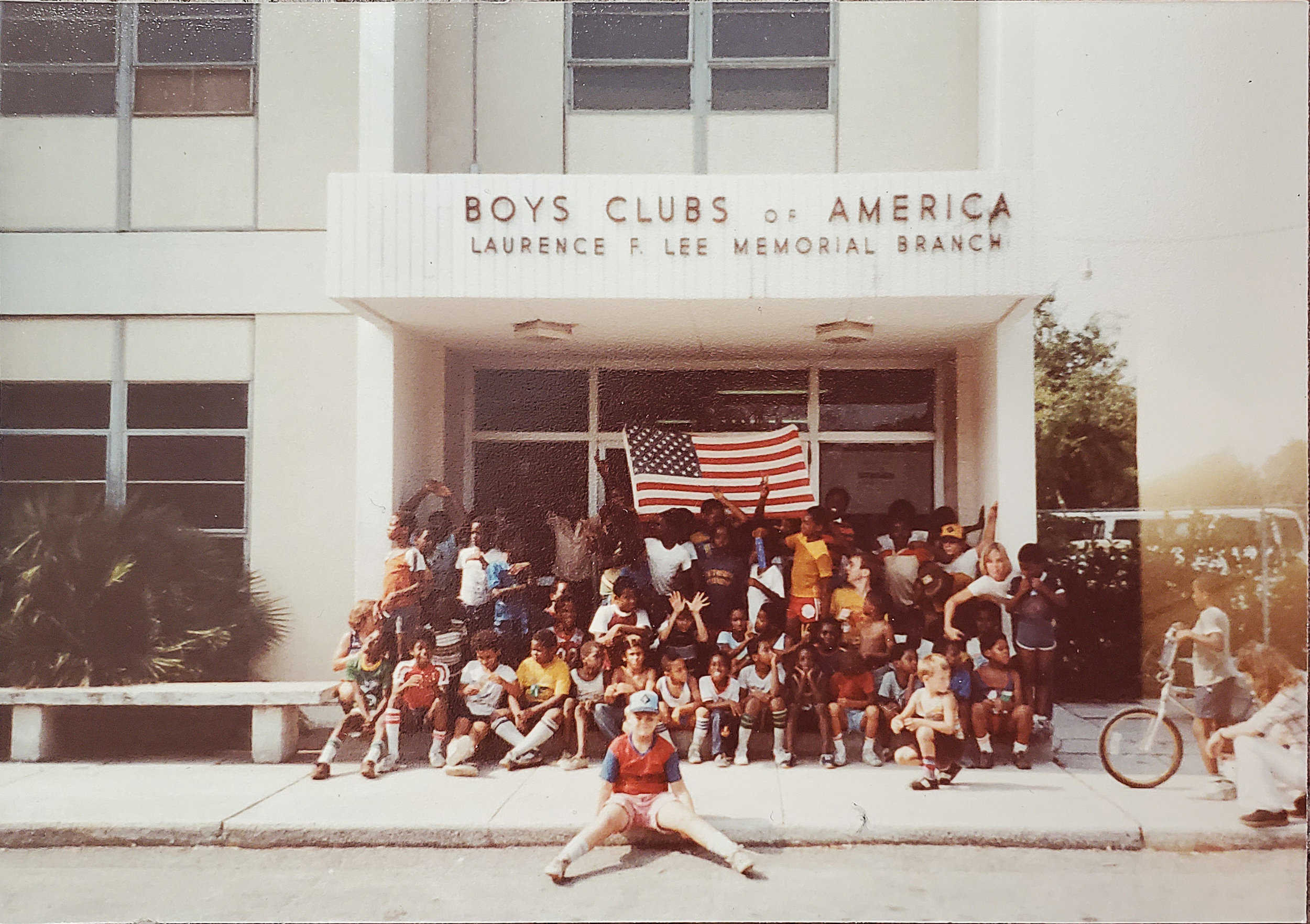 Laurence F. Lee Club members posing for a picture in front of the Lee Club. Ca. 1970s. The Citi Teen Center was originally called the Laurence F. Lee Boys' Club of Jacksonville.