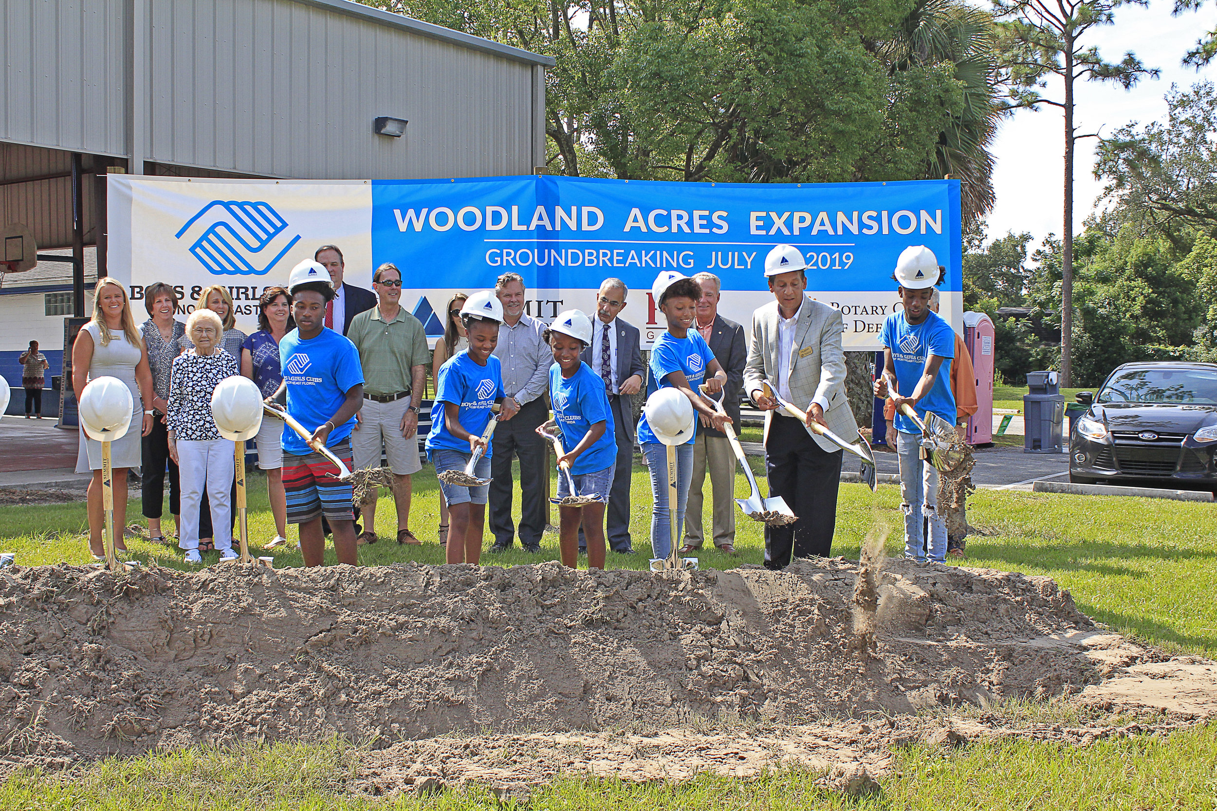 Baxter E. Luther Boys & Girls Club members join Paul Martinez, President and CEO of Boys & Girls Clubs of Northeast Florida in breaking ground on the new construction.